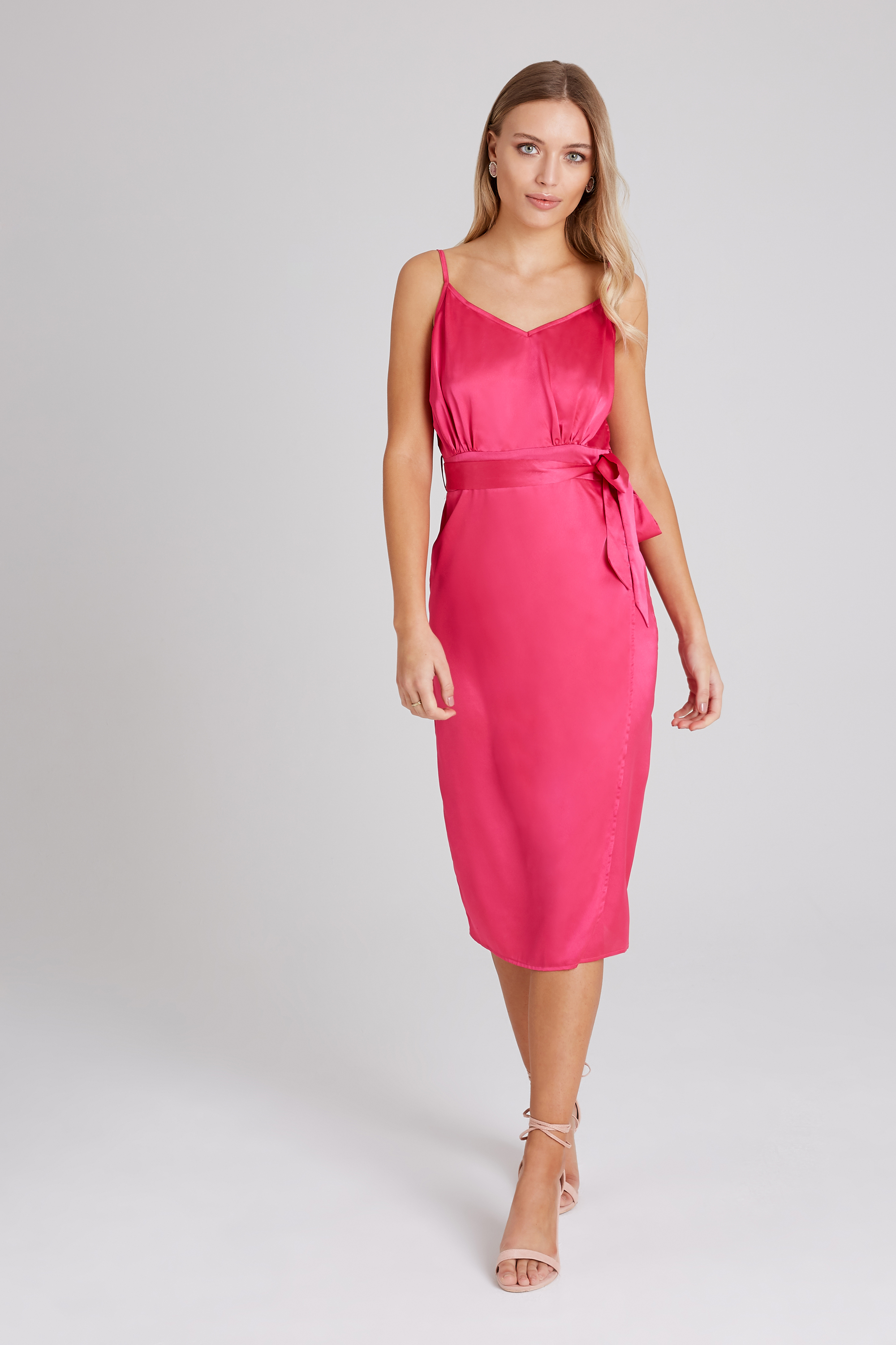 Girls on Film Nava Pink Satin Slip Dress