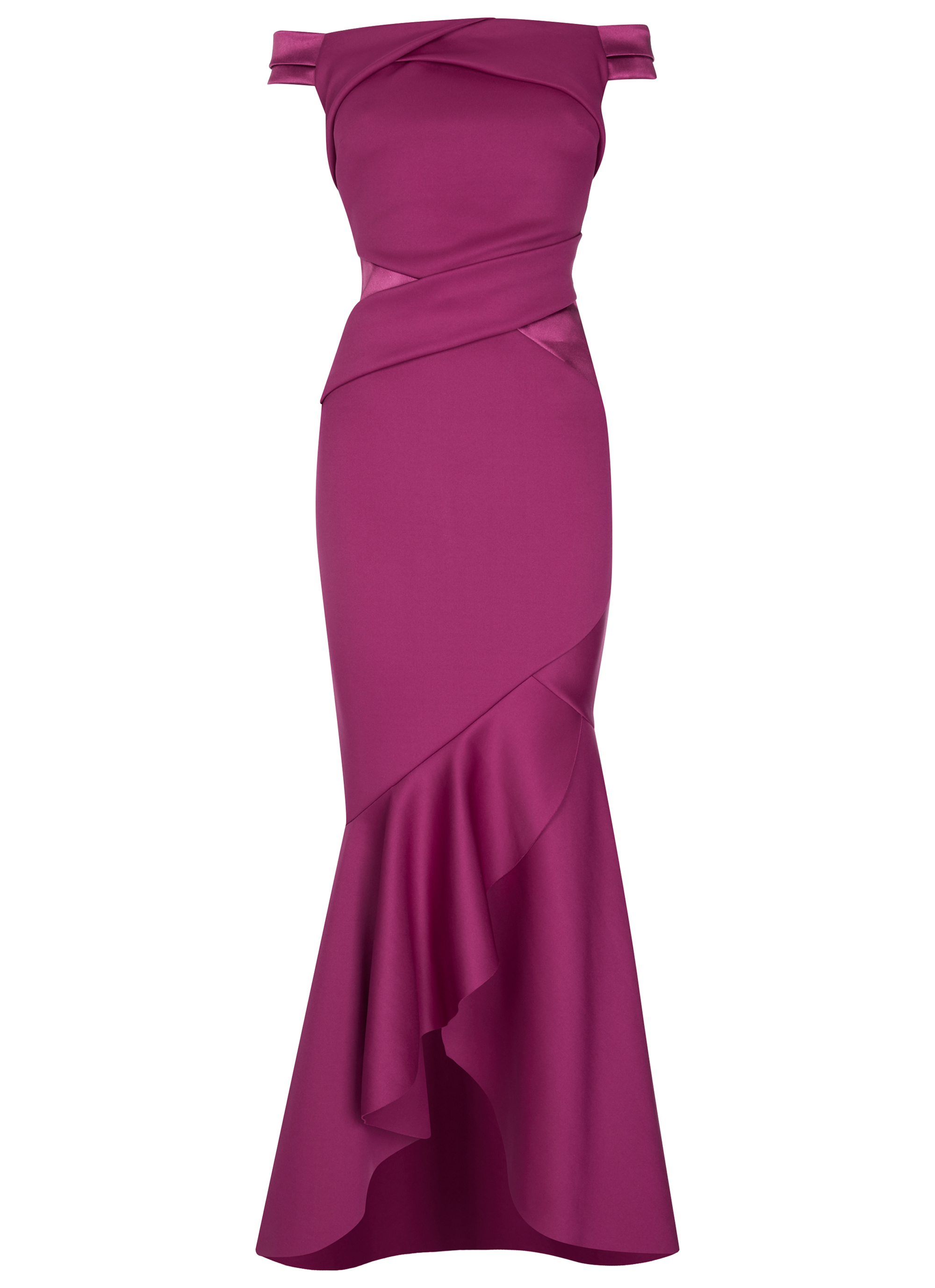 Lipsy Bardot Satin Panel Maxi Dress