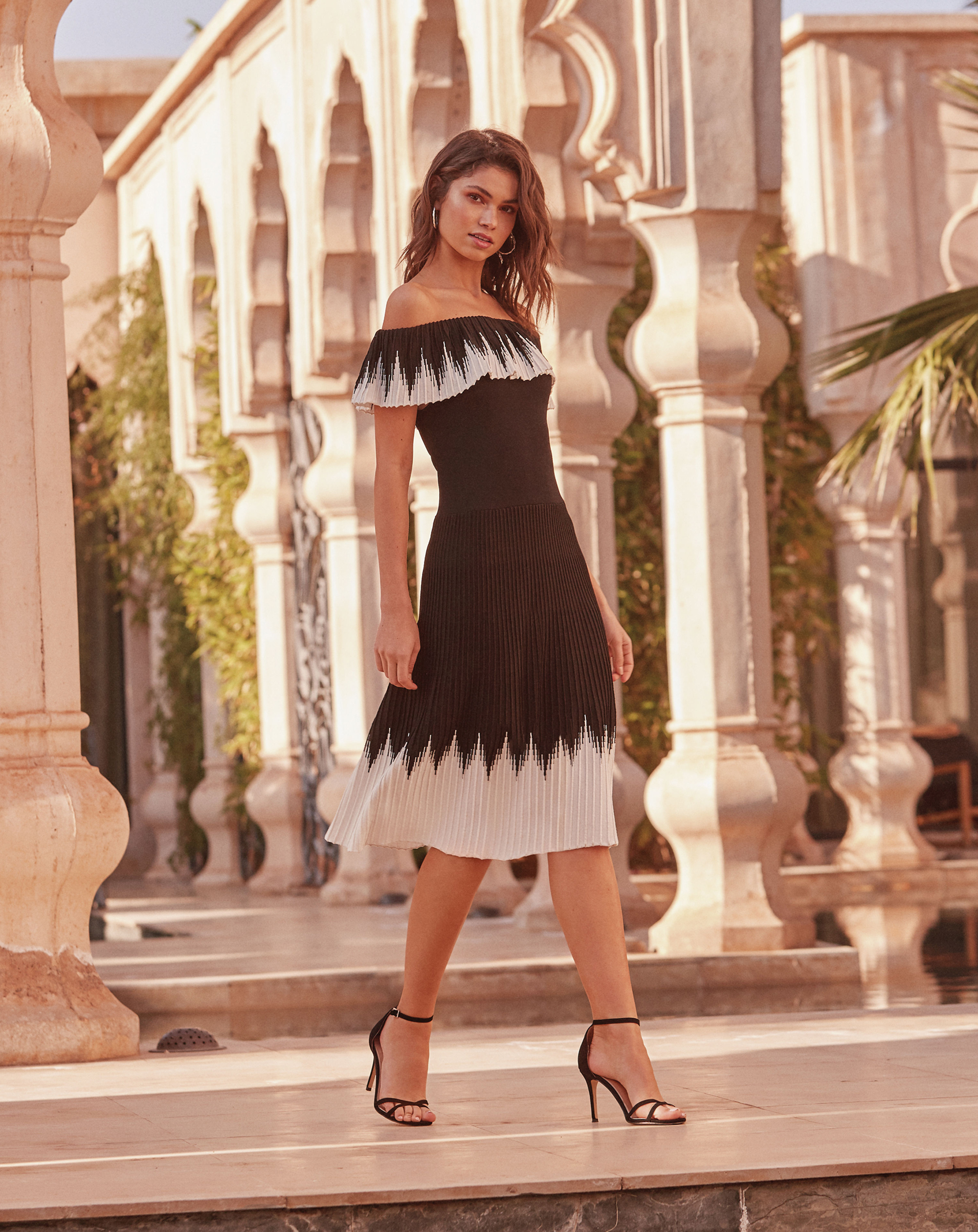 Lipsy Bardot Ruffle Midi Dress, £65; Barely There Heeled Sandals
