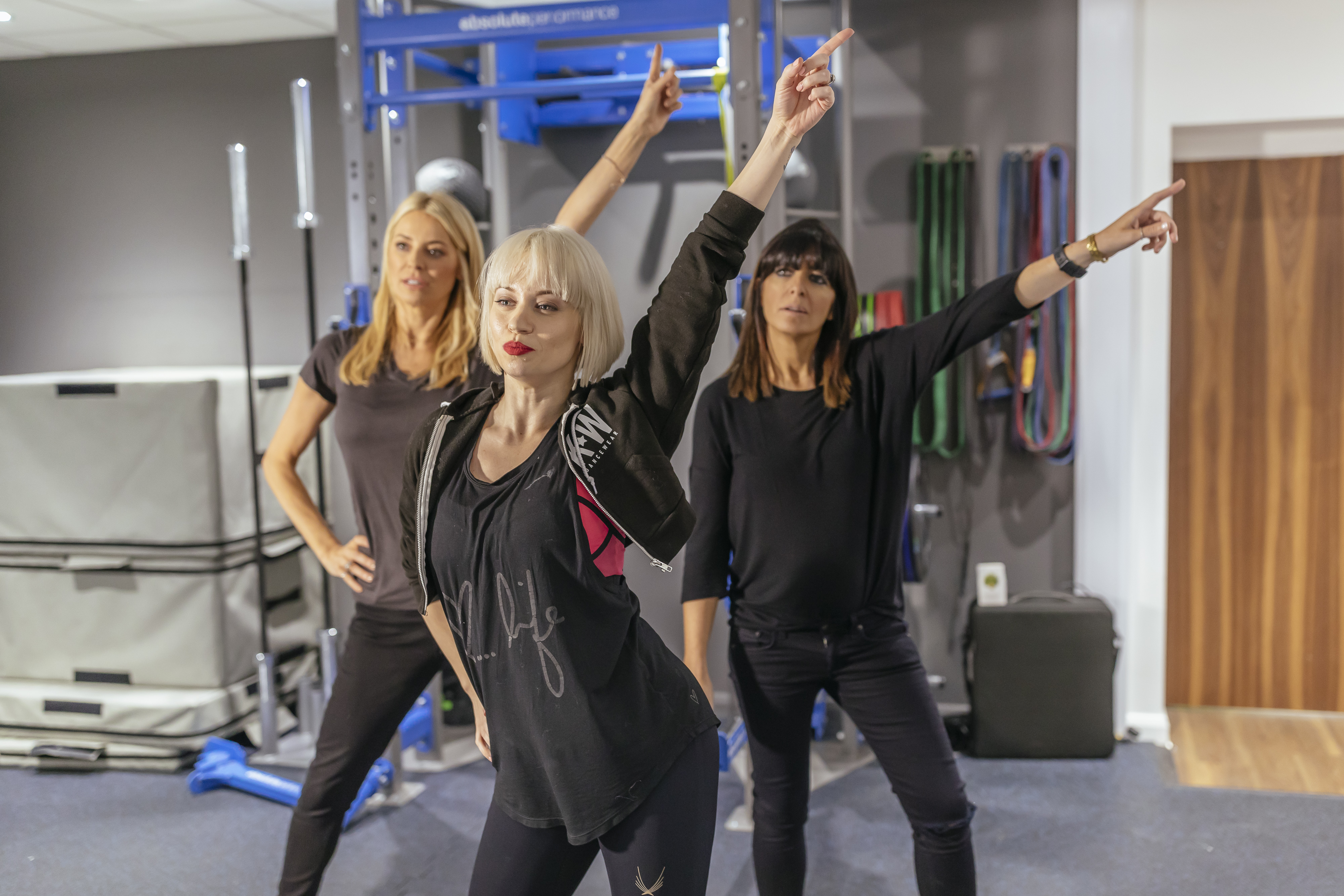 Tess Daly and Claudia Winkleman with Kimberly Wyatt