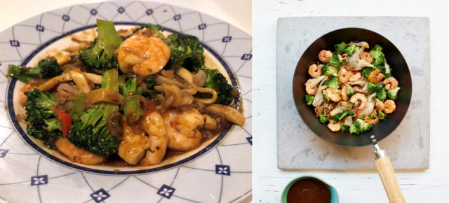 Right, king prawn and broccoli stir fry from Mary Berry Quick Cooking; left, Lauren's version (Lauren Taylor/Georgia Glynn Smith/PA)