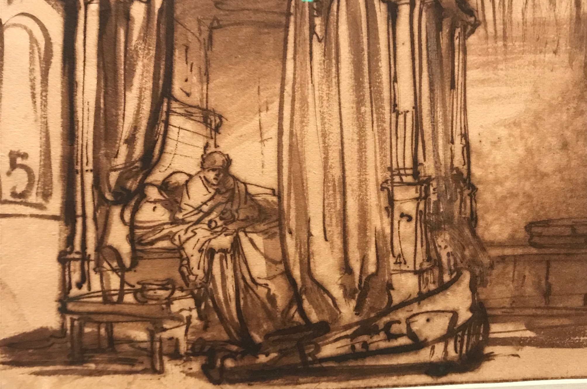 A rarely seen sketch by Rembrandt of his wife in their bedroom displayed at the All The Rembrandts Exhibition (Gabrielle Fagan/PA)