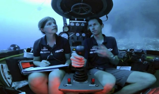 Lucy Woodall and Randy Holt inside the submersible 60 metres below the surface of the Indian Ocean