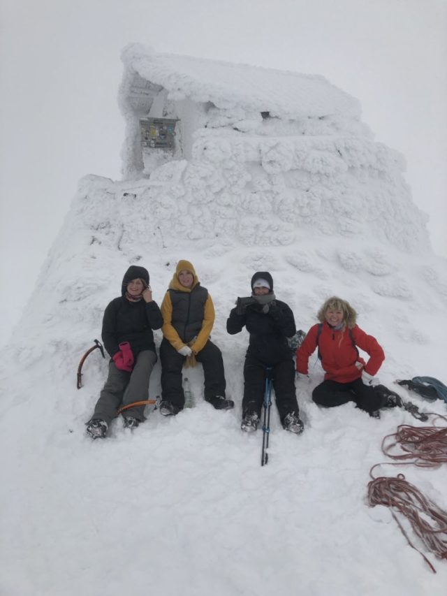 Ambre Boucher and friends near the summit of Ben Nevis on Friday