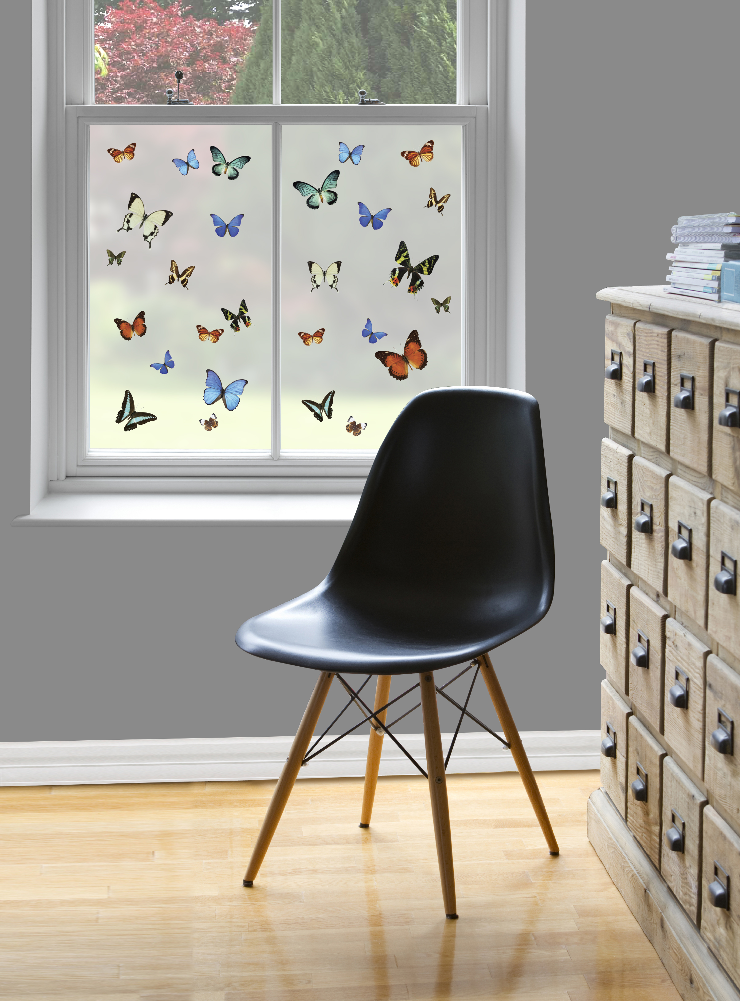 Butterfly Pattern Window Film, £12.25, provides privacy and screens out a boring view. (Purlfrost/PA)