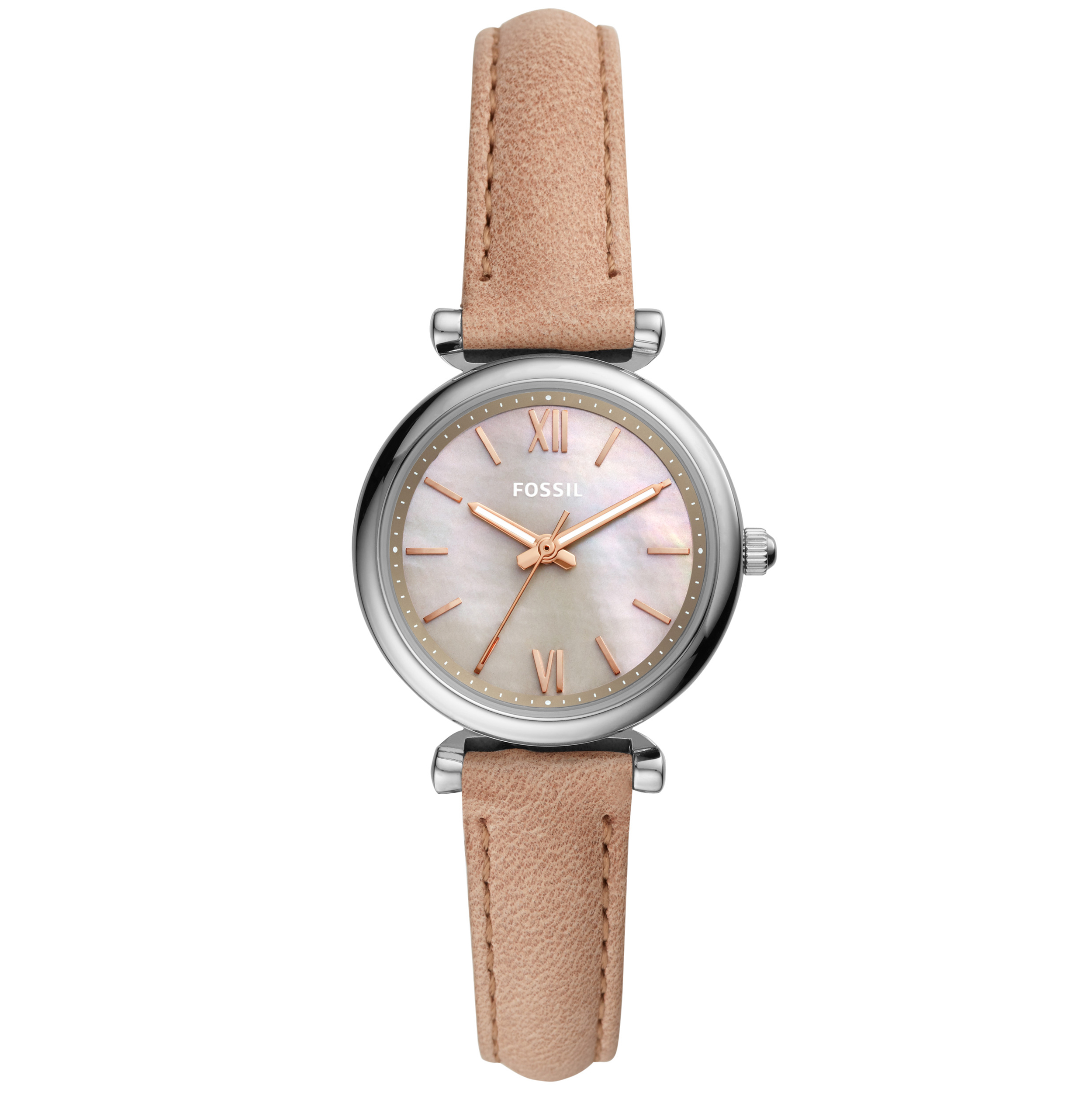 Fossil Carlie Mini Three Hand Sand Leather watch