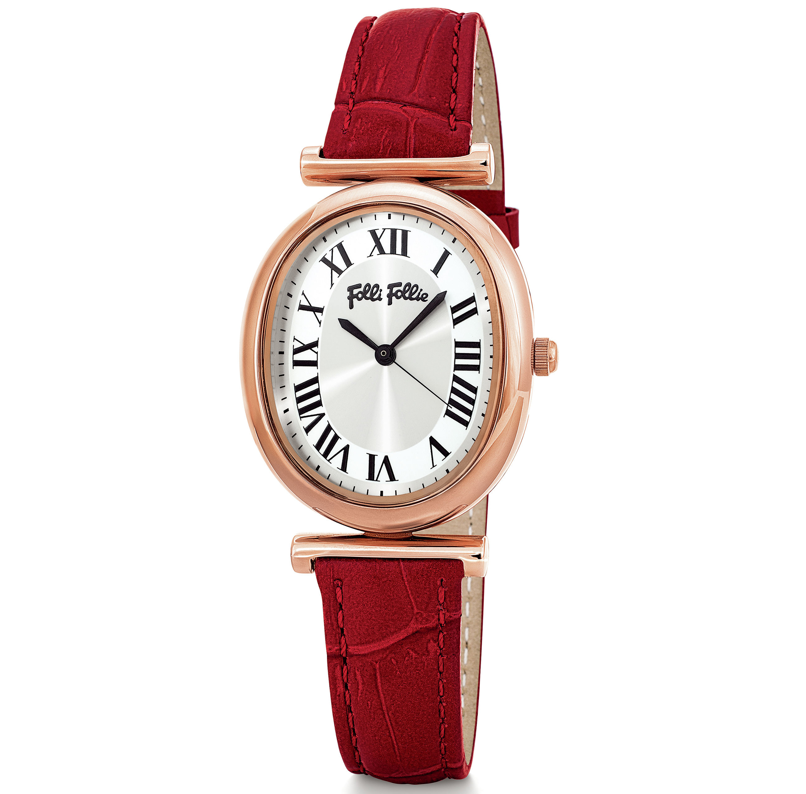 Folli Follie Metal Chic Oval Case Leather Watch