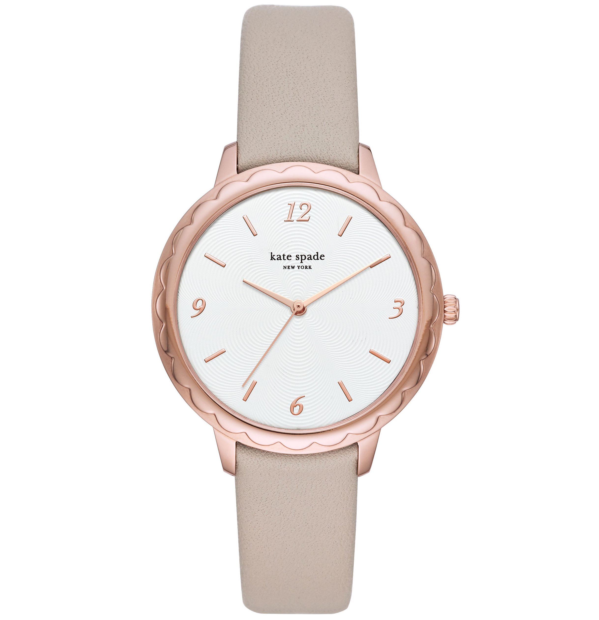 Kate SpadeSilver and Rose Gold Detail Scallop Dial Grey Leather Strap Ladies Watch