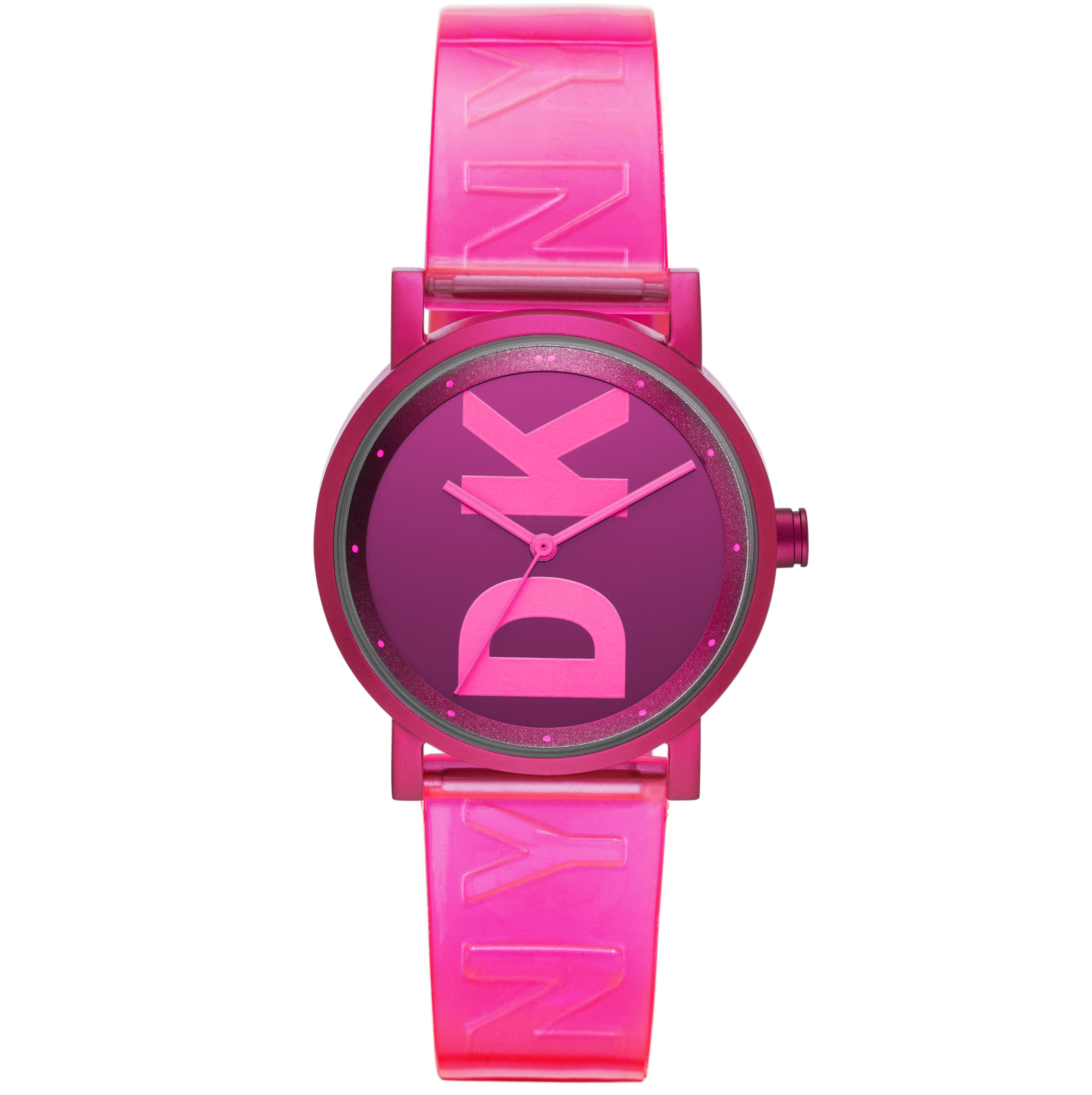 DKNY Ladies Aluminium Pink Strap Watch