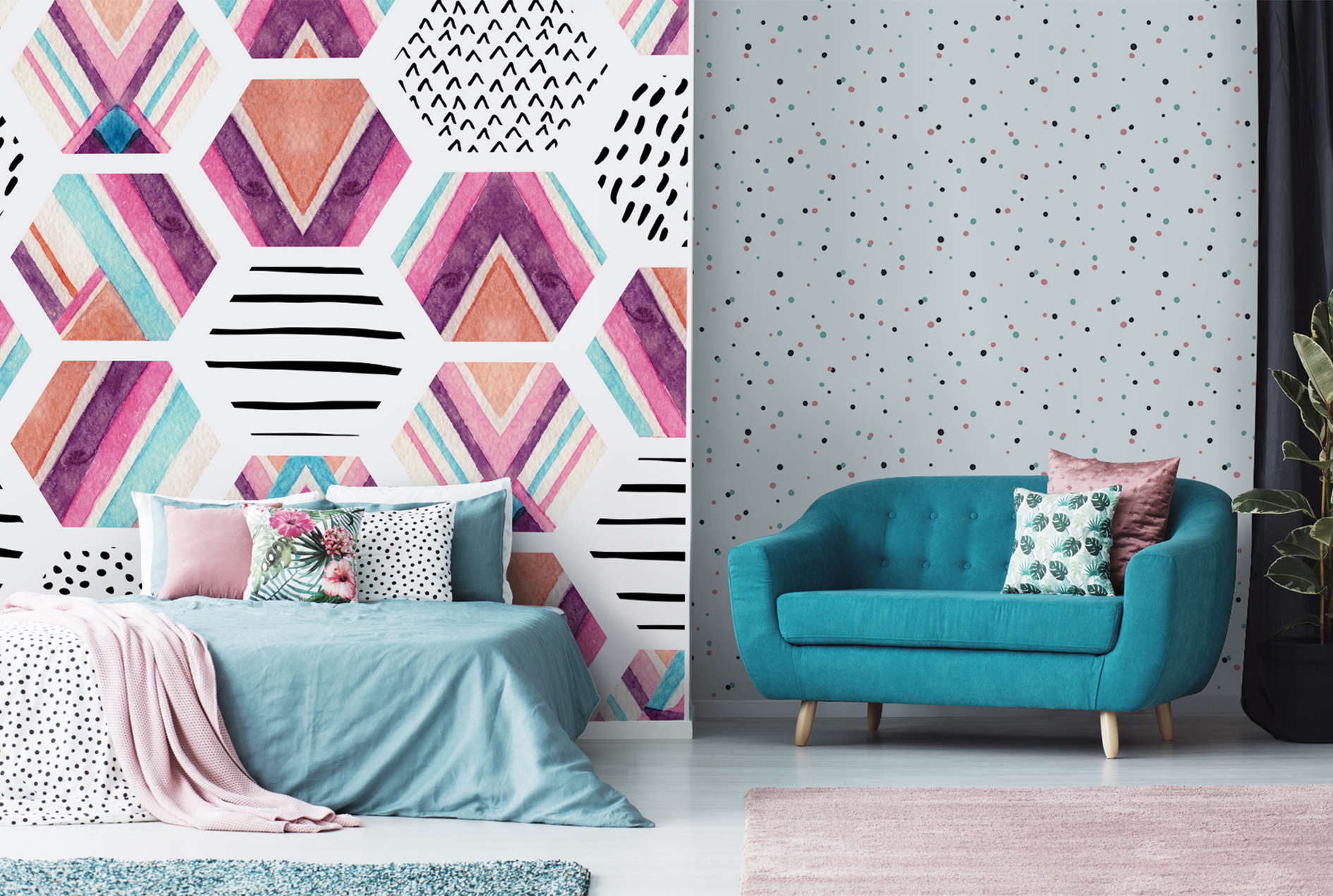 Watercolor Hexagon Seamless Pattern Wallpaper, Vinyl Custom Made, from £29, Pixers.co.uk (Pixers/PA)
