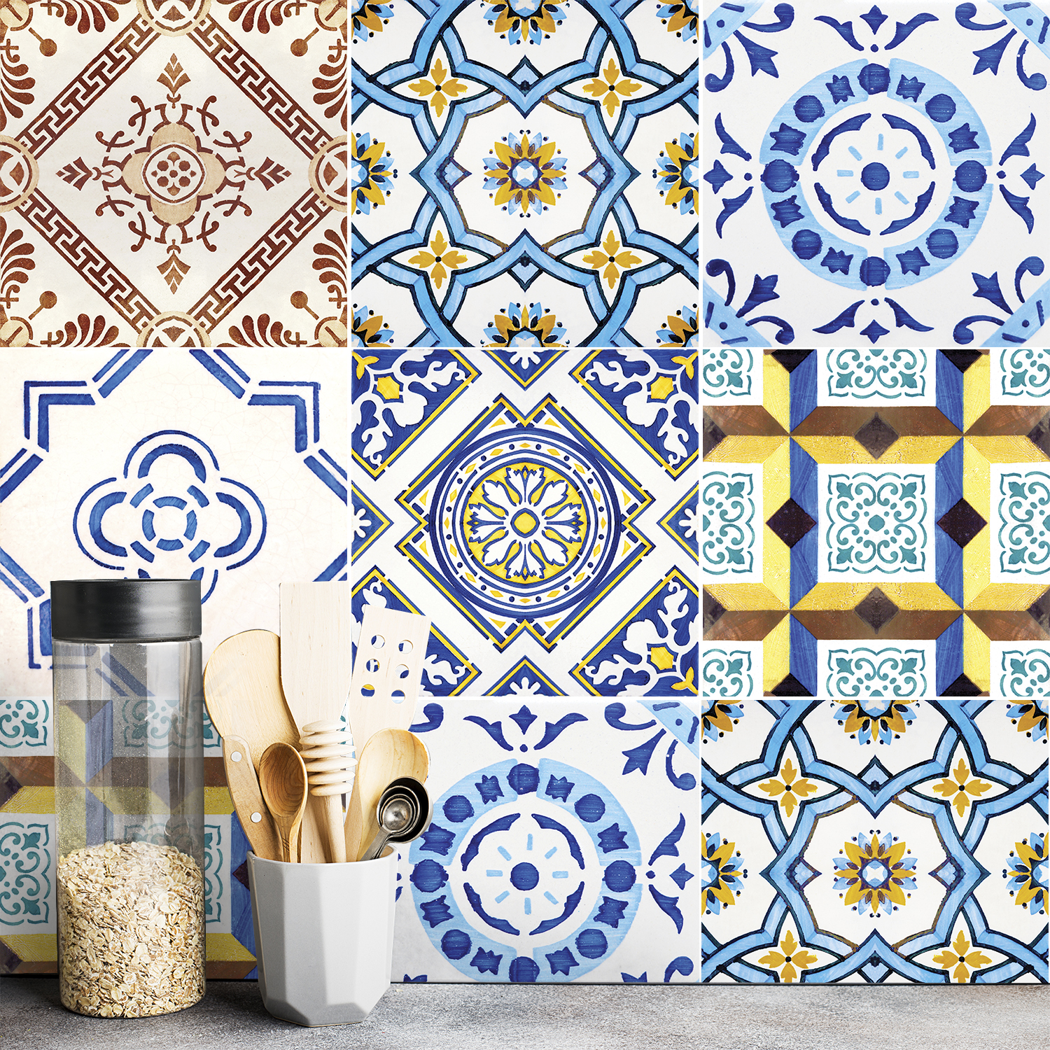Lisbon Mouraria Tile Decals - Tile Stickers Set For Kitchen & Bathroom, Pack of 12, £8.50, SirFace Graphics (SirFace Graphics/PA)
