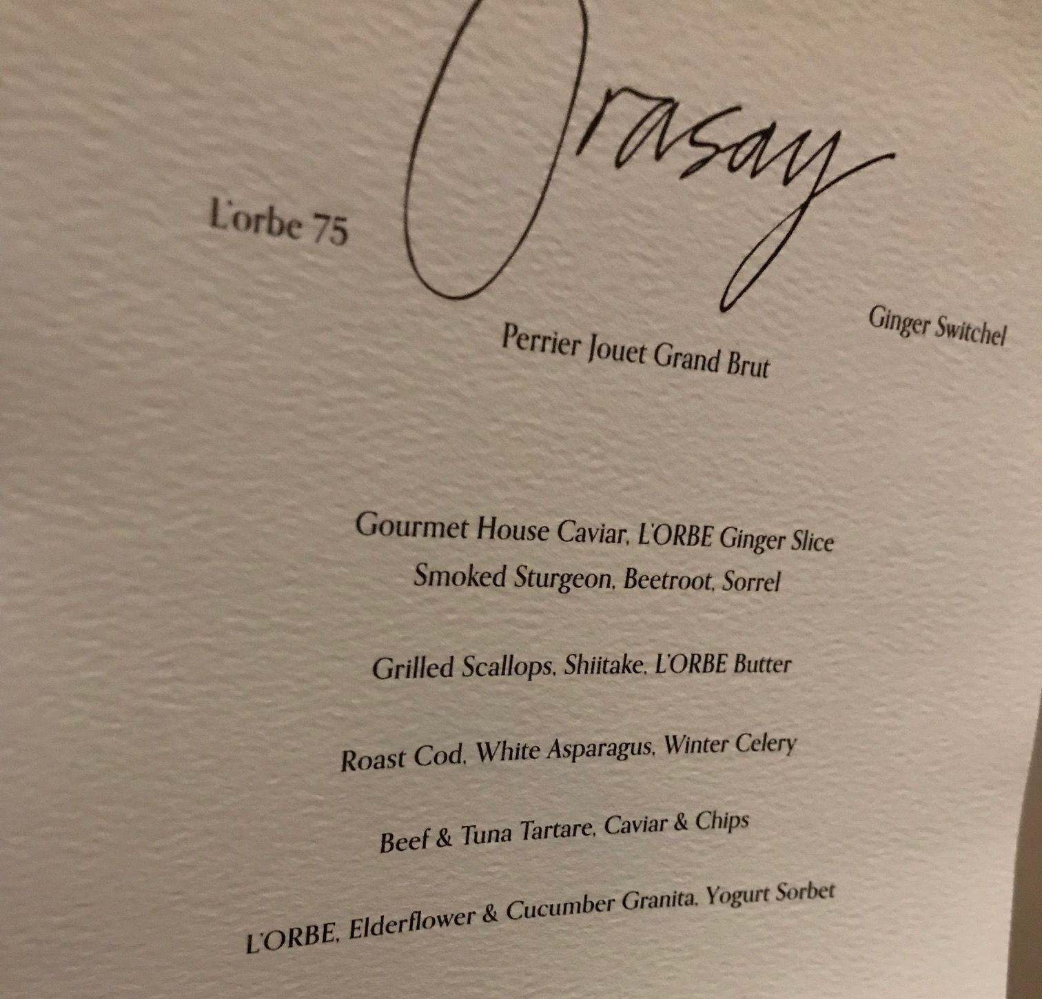 Orasay private dinner menu (SWH/PA)