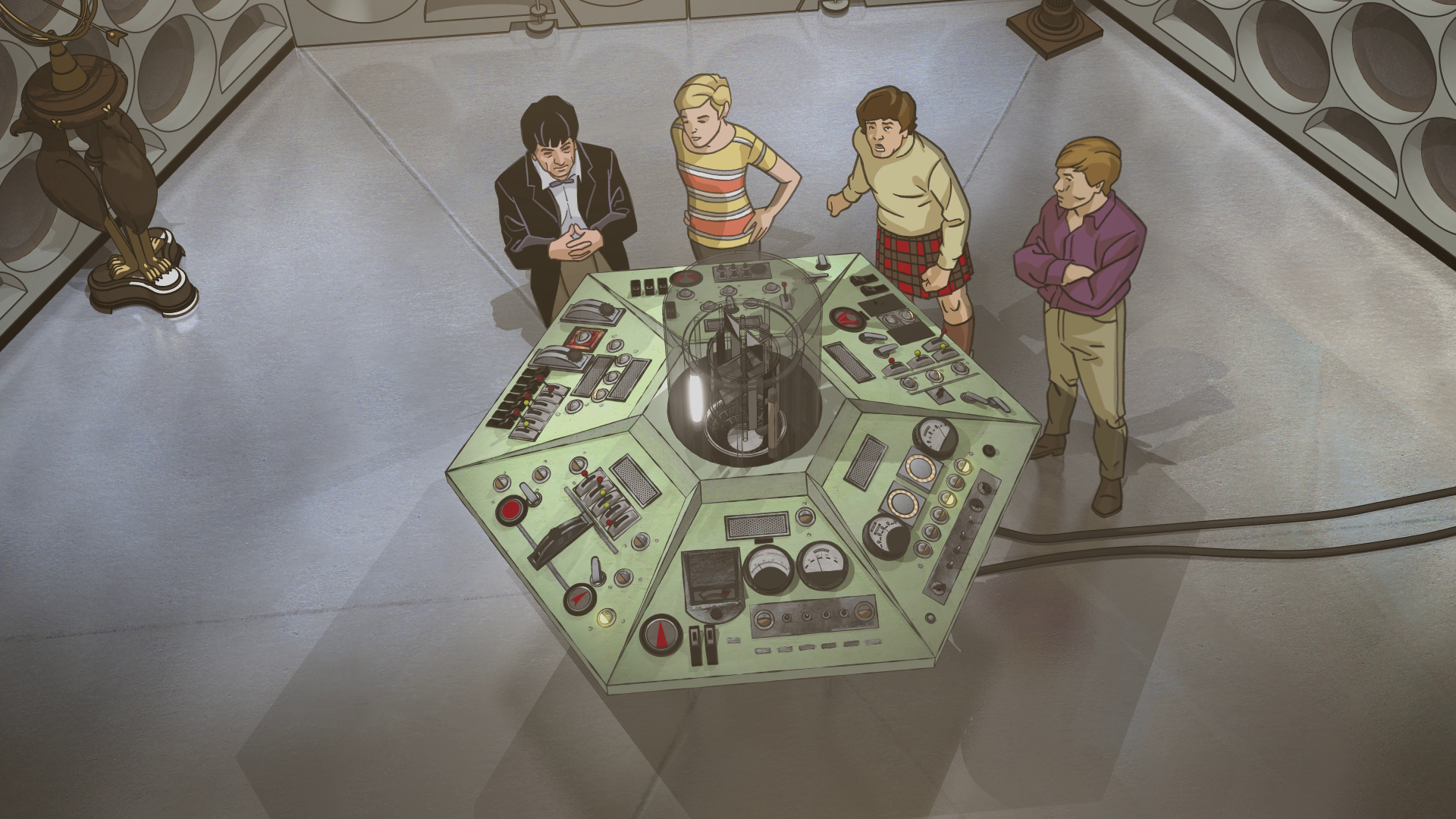 The crew in the Tardis in the new animation