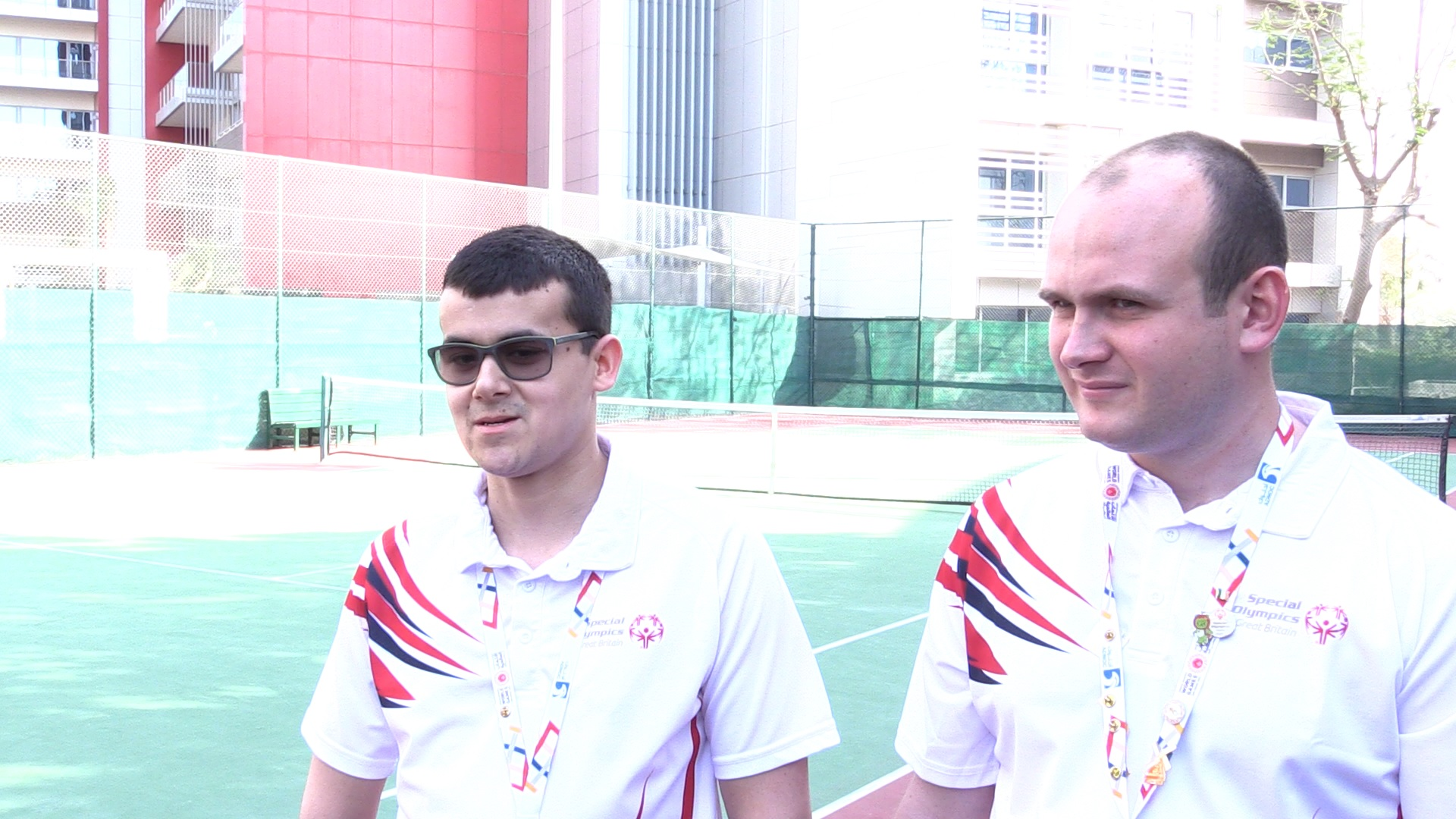 Two of Great Britain's male basketball team for the Special Olympics World Games