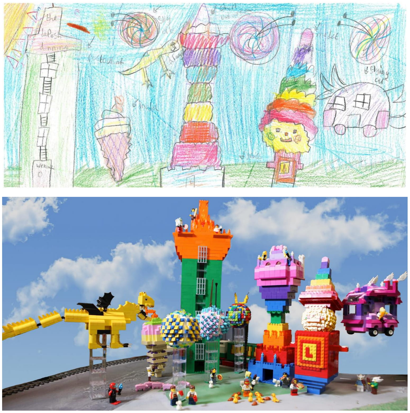 Competition winner Saira Ali's original drawing has been reconstructed in Lego