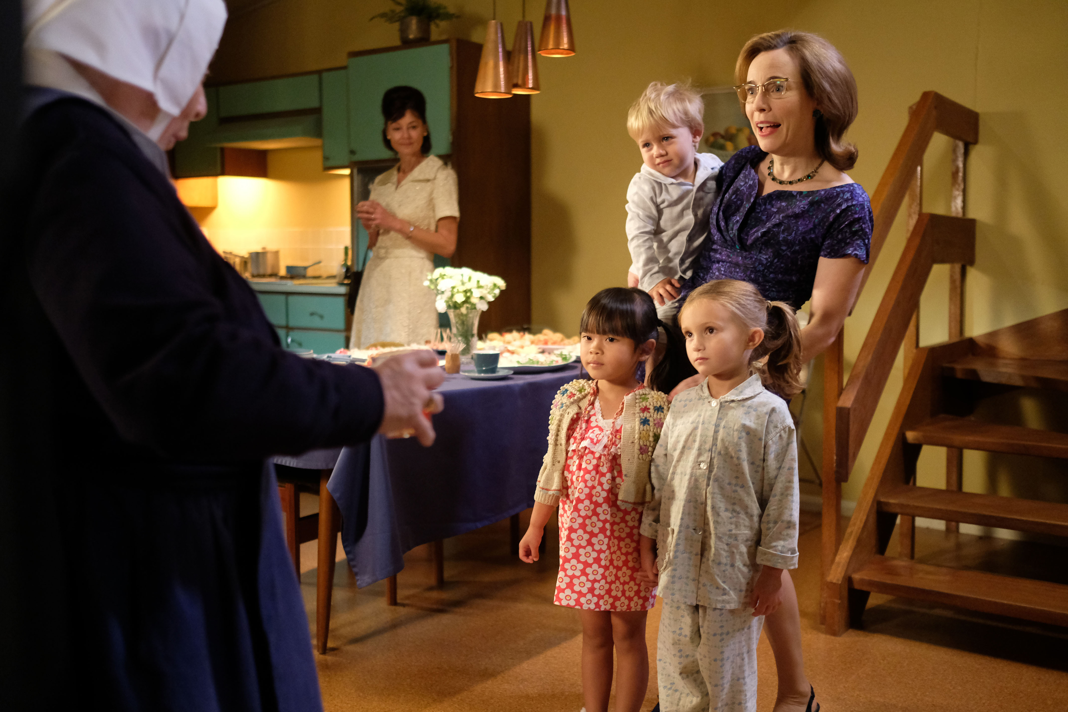 Laura Main as Shelagh Turner with her on-screen family, Little May (April Rea Haong) HOANG), Angela Turner (Alice Brown) (Neal Street Productions/ Ollie Upton/BBC)