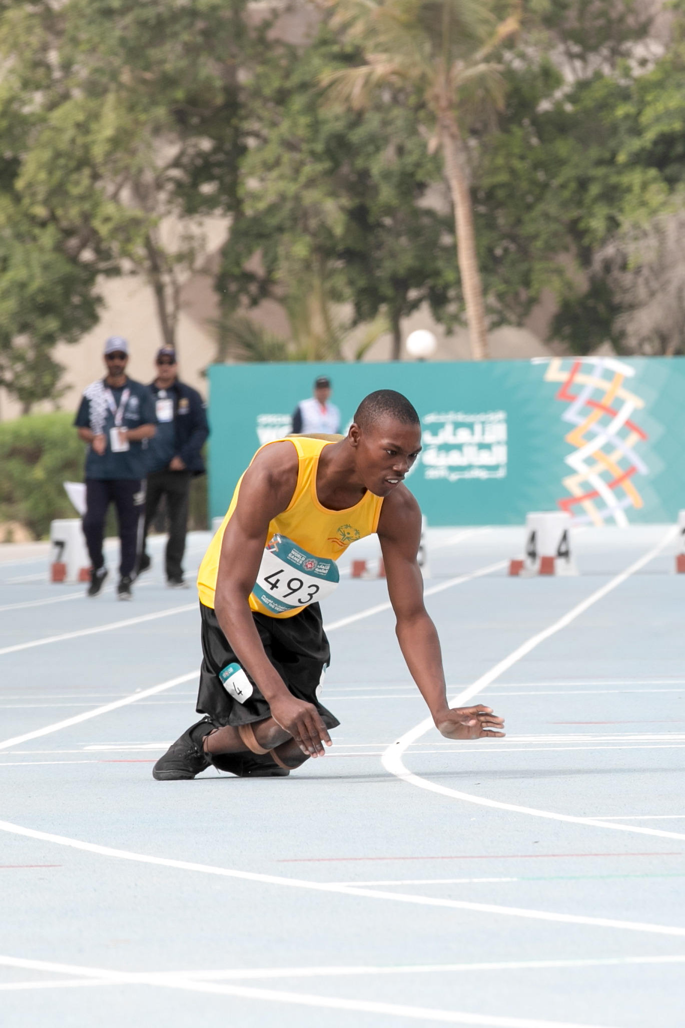 Jamaica's Kirk Wint competes in the 50m sprint at the 2019 Special Olympics World Games