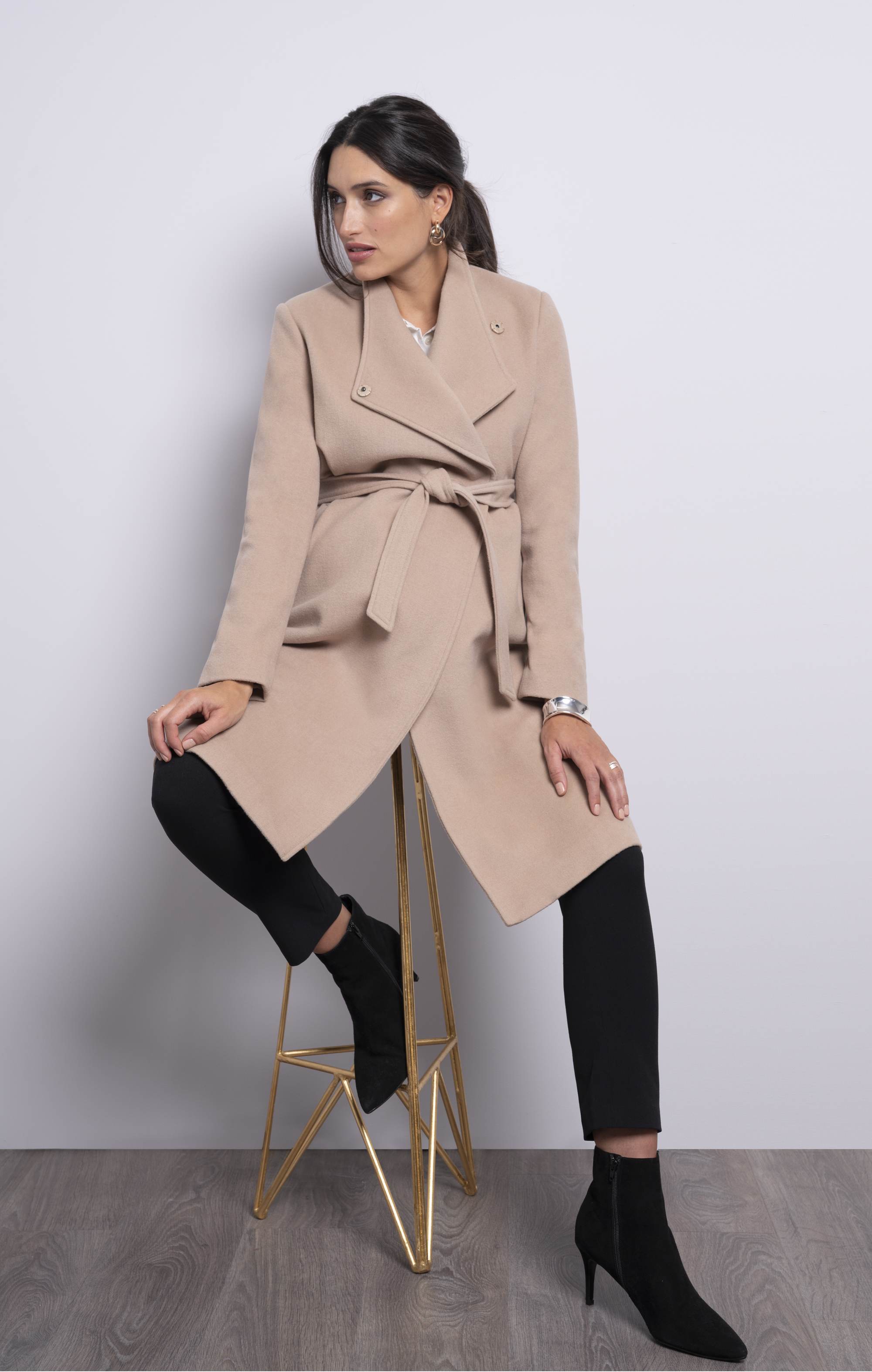 Seraphine Wool Camel Maternity Coat; Cropped Black Maternity Trousers