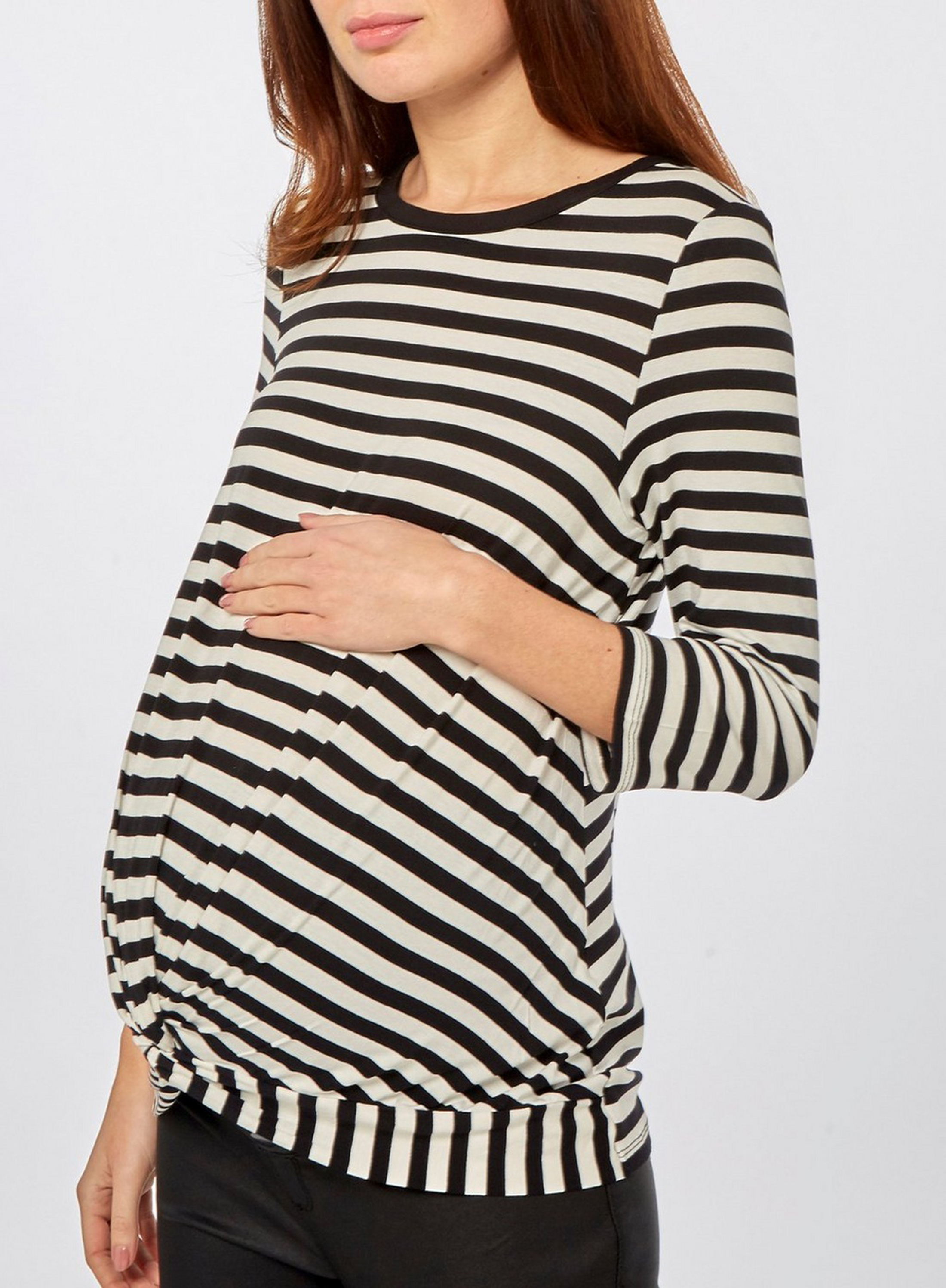 Dorothy Perkins Maternity Monochrome Stripe Manipulated Top