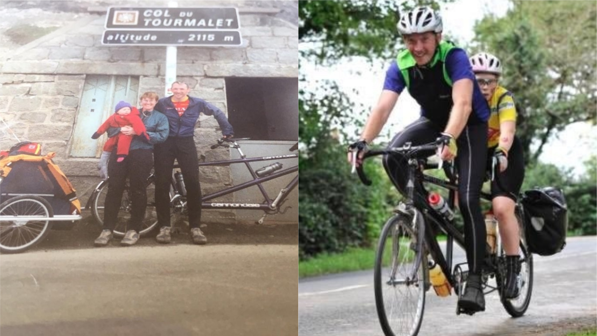 Kiera with her family as a child, and during a charity bike ride