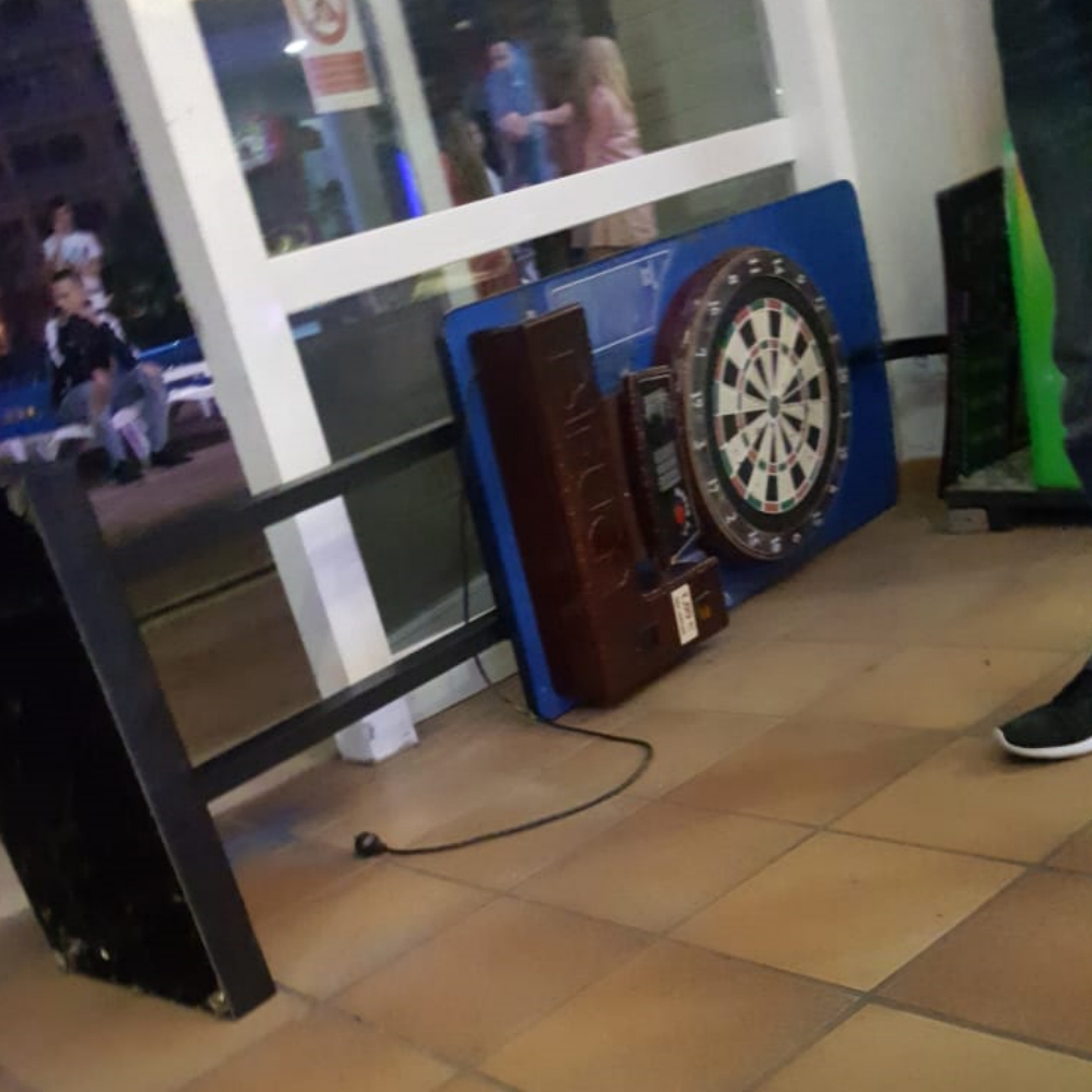 A toppled dart board said to have crushed Oscar Donnelly, supplied by Slater Gordon
