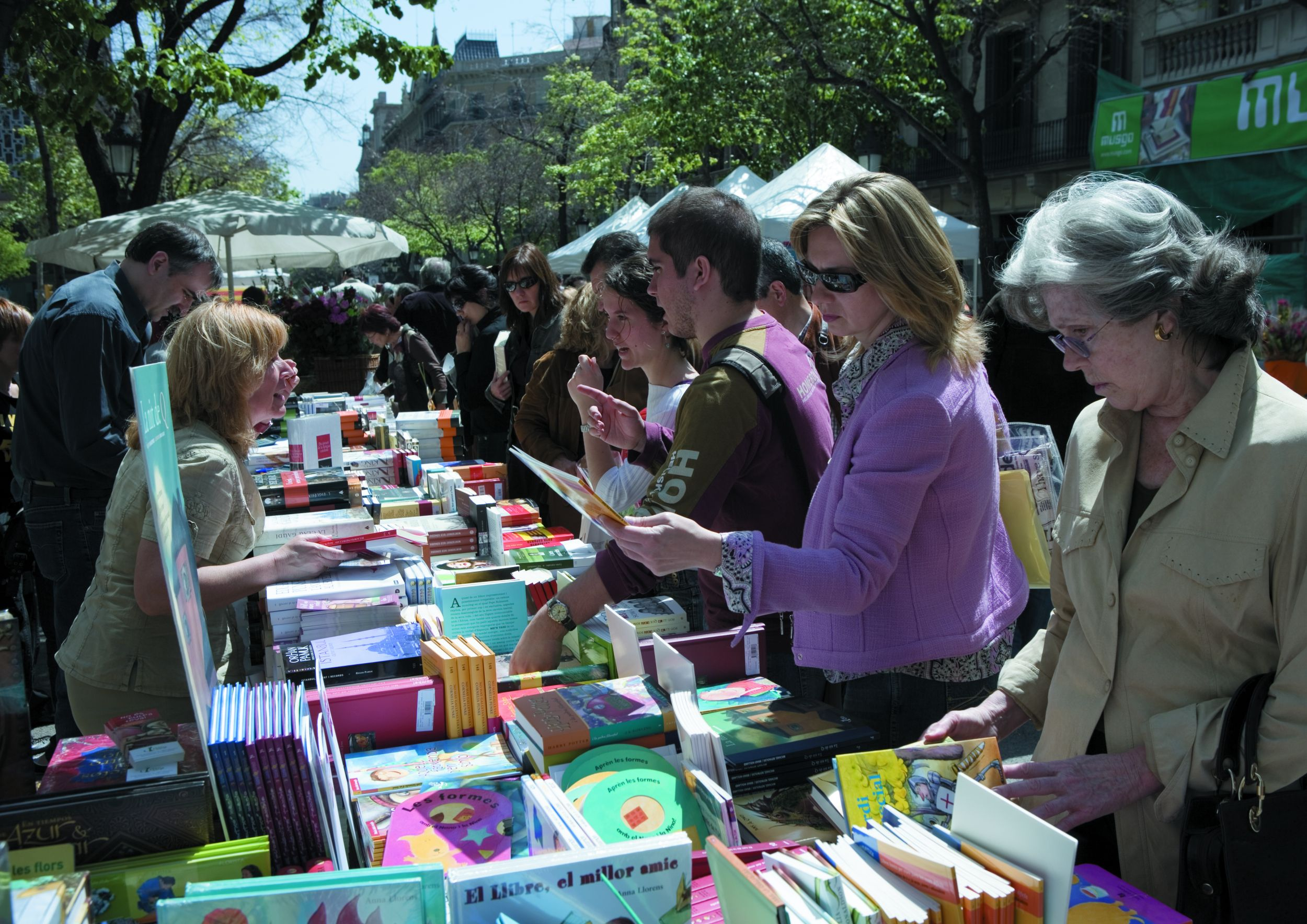 Book stalls at the Sant Jordi Festival