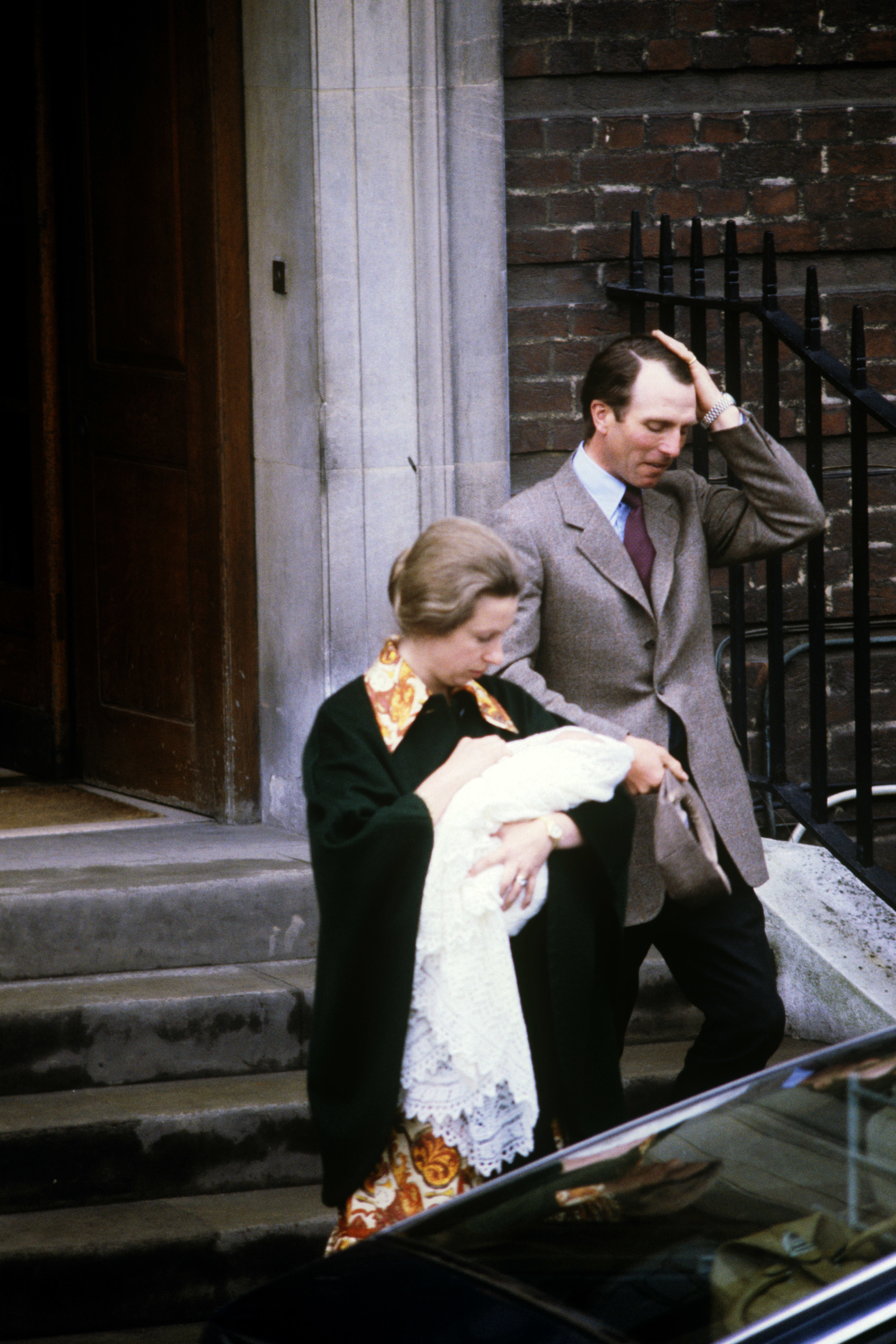 Princess Anne carrying her three day-old daughter Zara, with her husband Captain Mark Phillips, leaving St Mary's Hospital