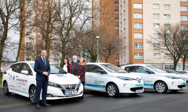 Transport Secretary Michael Matheson with Evelyn McDowall from the Wheatley Group / Tony Archer from car hire firm Co-wheels and Ellie Grebenik from the Energy Saving Trust