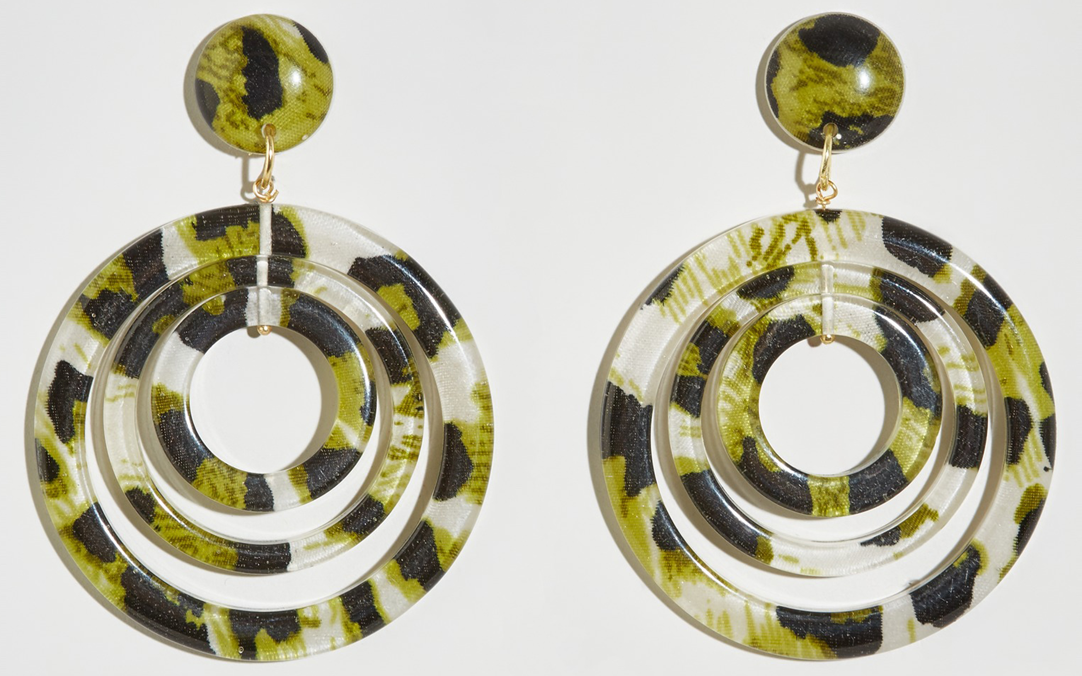 New Look Green Animal Print Multi Hoop Earrings