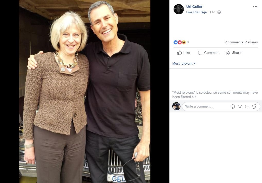 Uri Geller's Facebook post