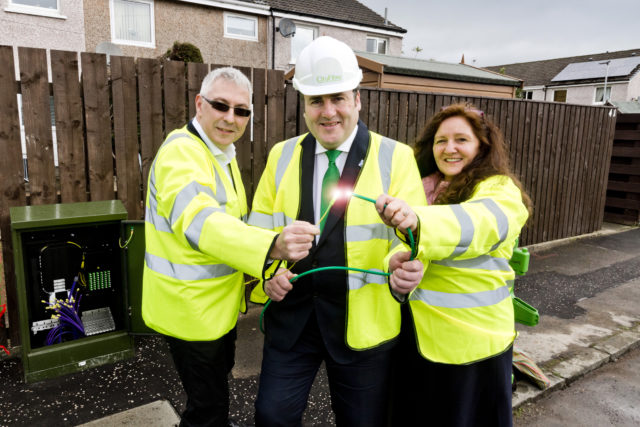 Connectivity Minister Paul Wheelhouse (centre) with Mark Collins and Elaine Doherty of CityFibre in Stirling