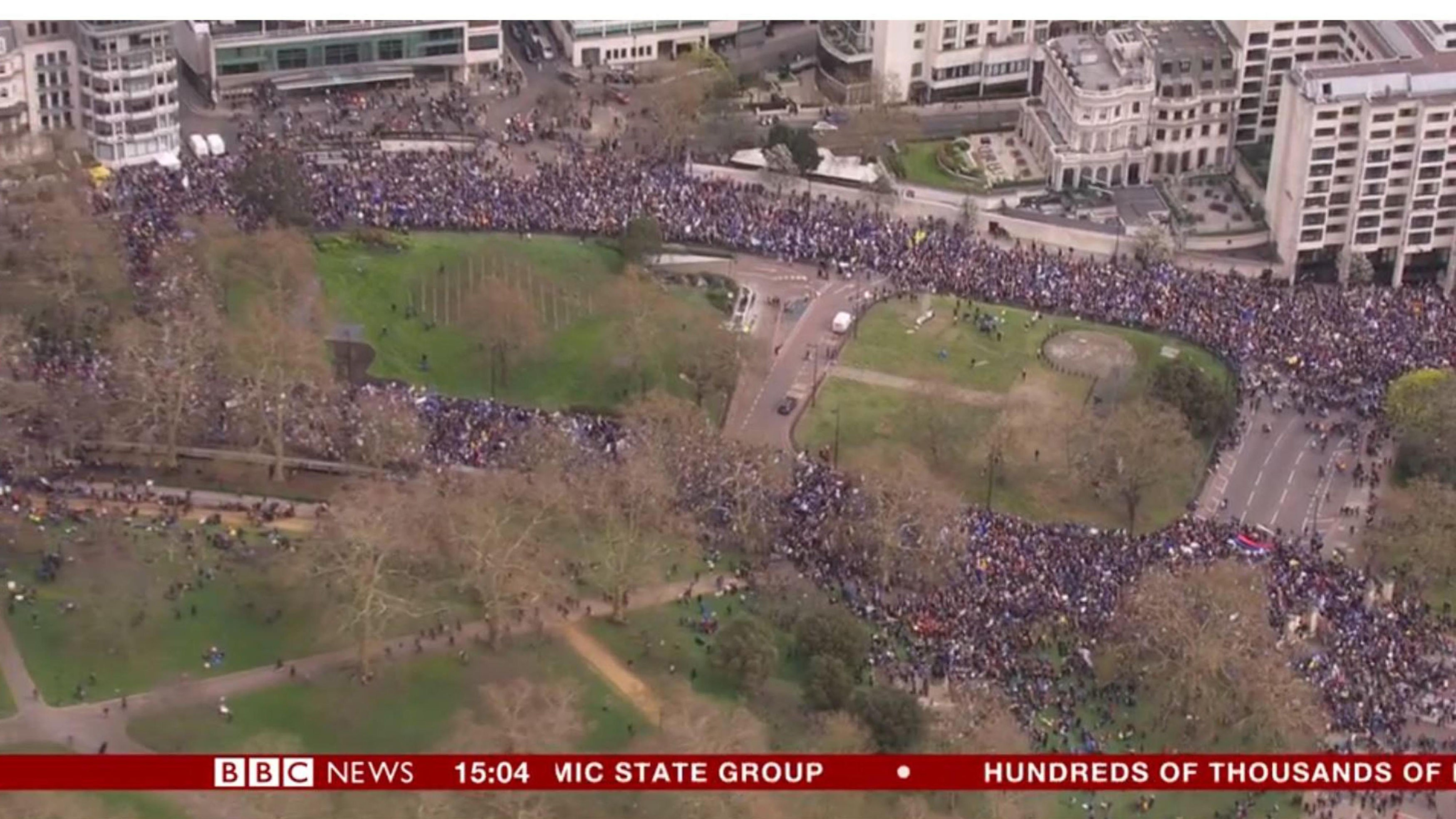 Screengrab taken from BBC News of an aerial view of the anti-Brexit campaigners marching in London