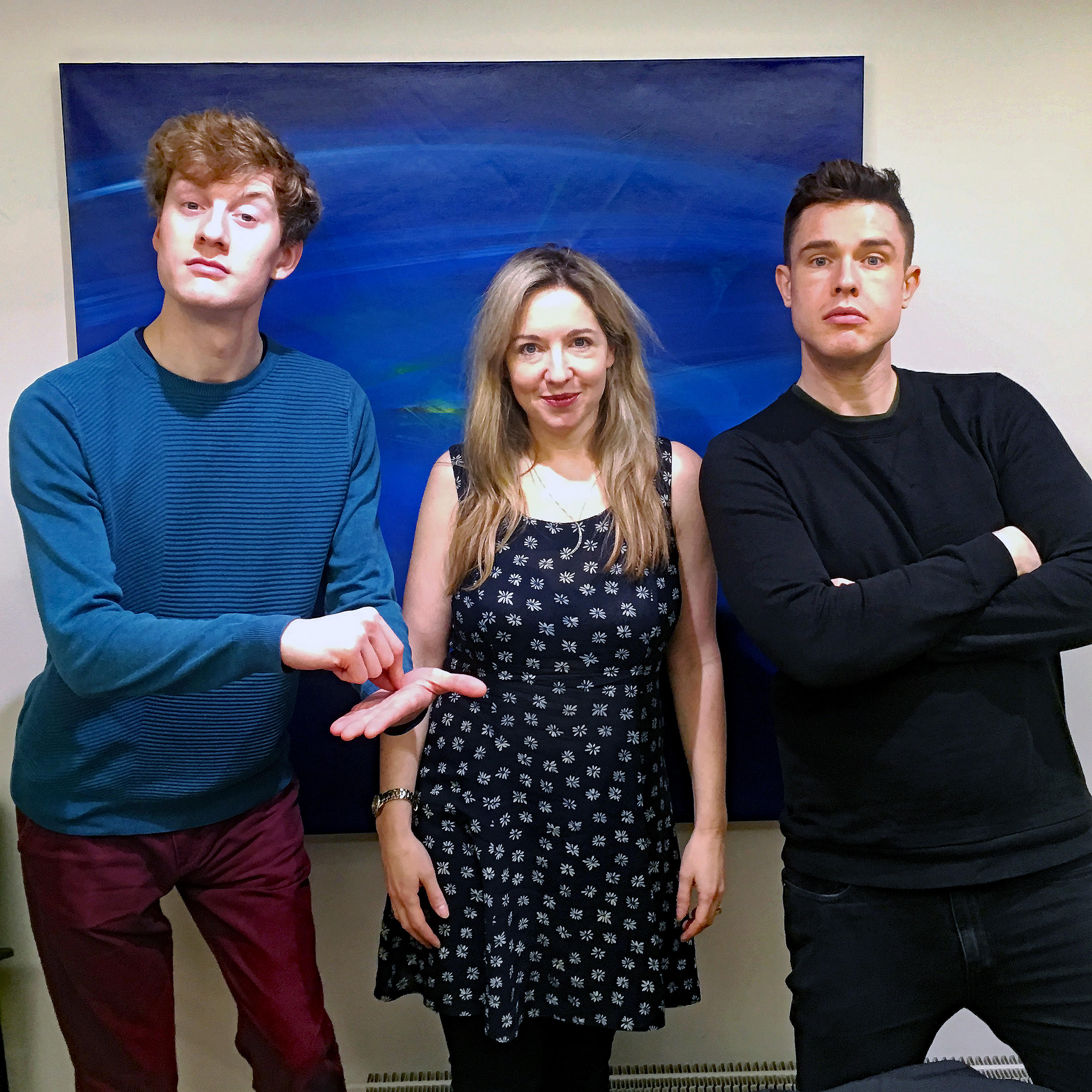 Ed Gamble and James Acaster with Victoria Coren Mitchell recording the Off Menu podcast