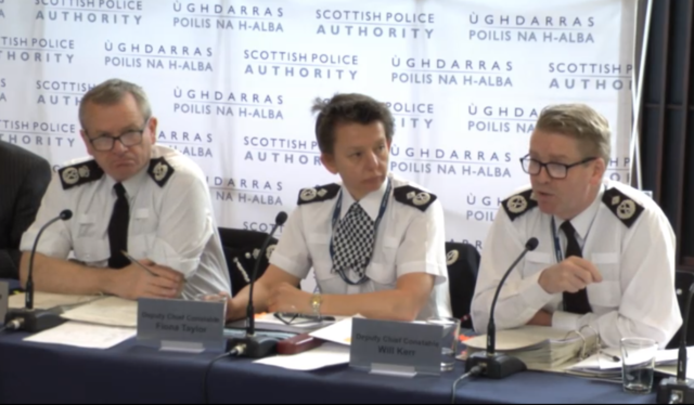 Deputy Chief Constable Will Kerr (right) speaking at the Scottish Police Authority's board meeting