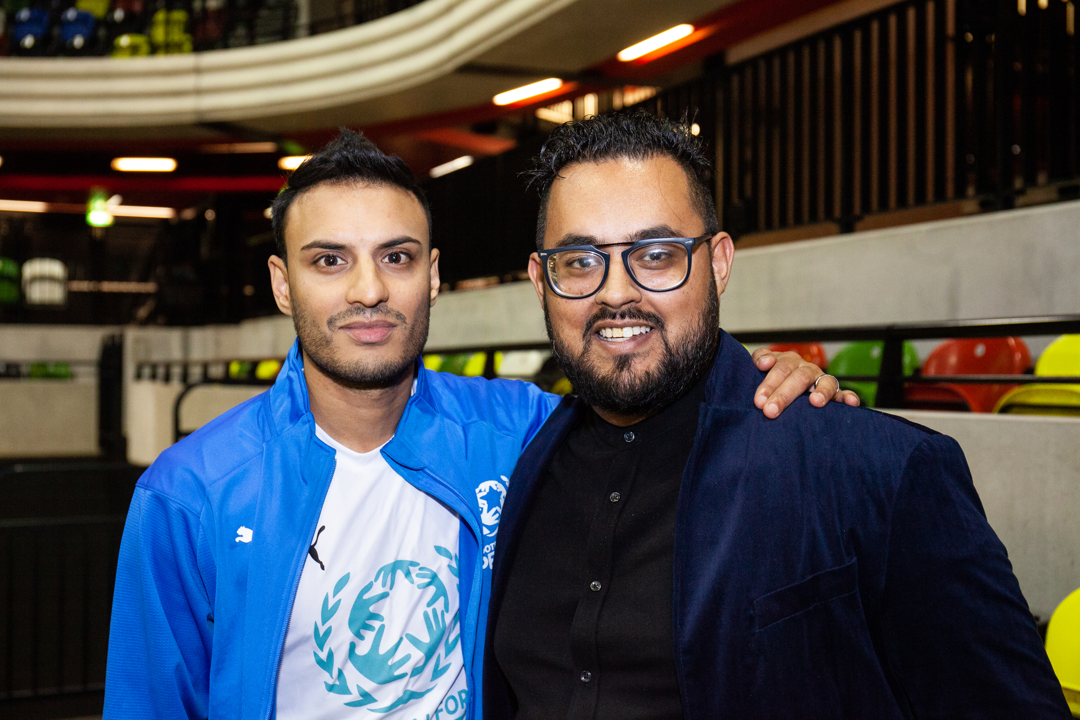 Former Northampton Town and Arsenal youth player Kashif Siddiqi with Obayed Hussain