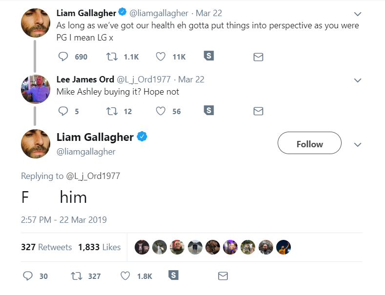 The tweet from Liam Gallagher