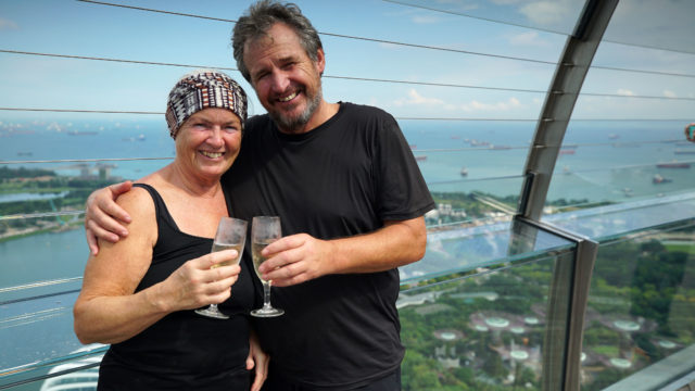 The couple were the first to reach the top of the Marina Bay Sands Hotel