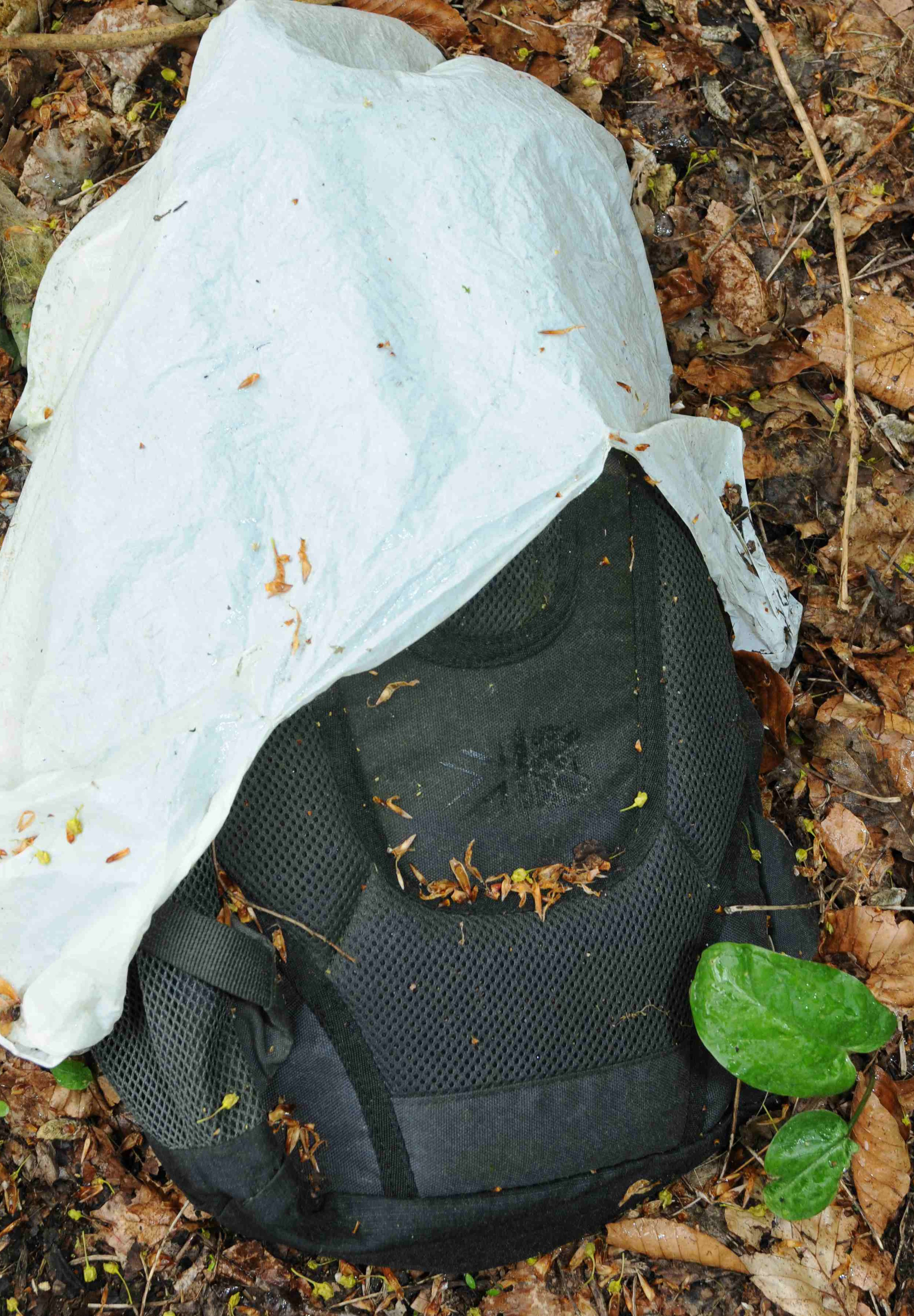 A Karrimor rucksack covered with a white plastic bag was recovered from the scene (Gloucestershire Police/PA).