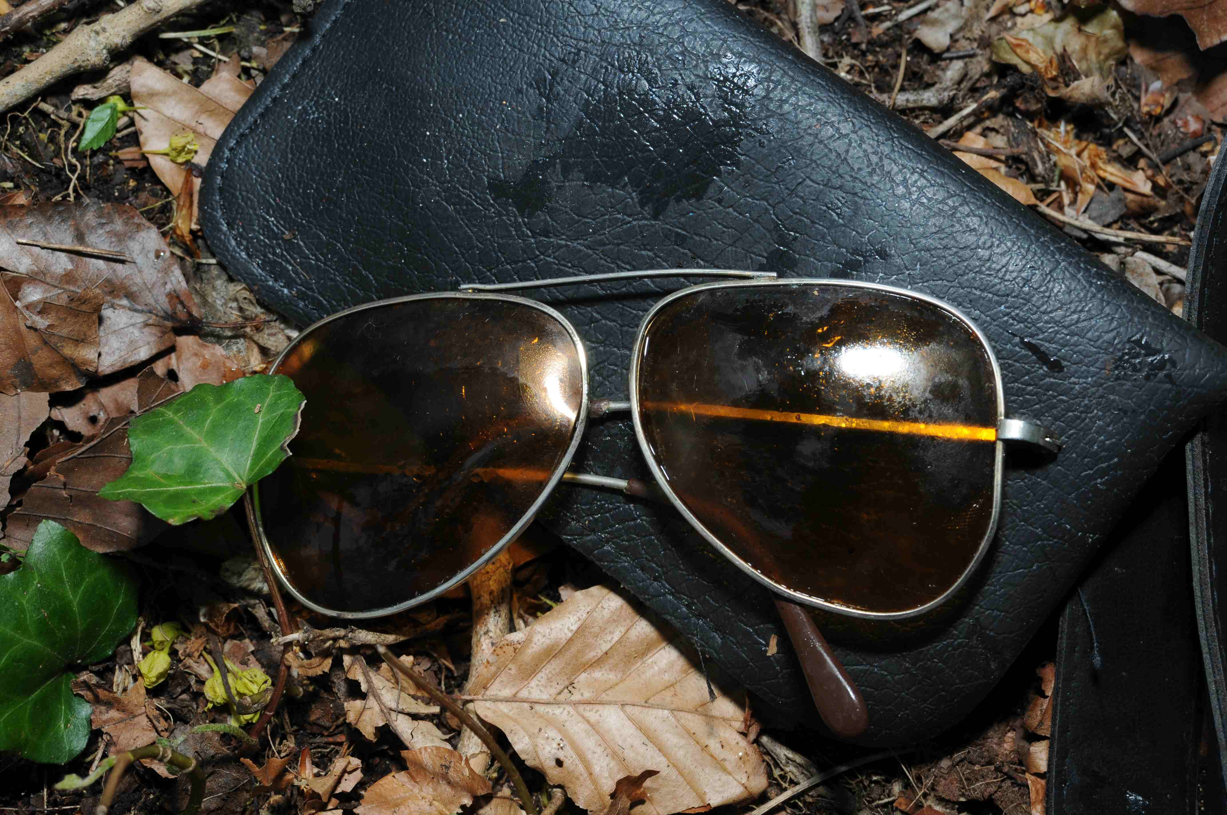 Will this pair of aviator sunglasses put a name to the face of a man found dead in the Cotswolds (Gloucestershire Police/PA).