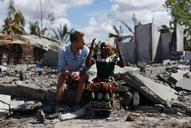 The broadcaster broke off filming for an upcoming series to visit the region (Caroline Irby/British Red Cross/PA)