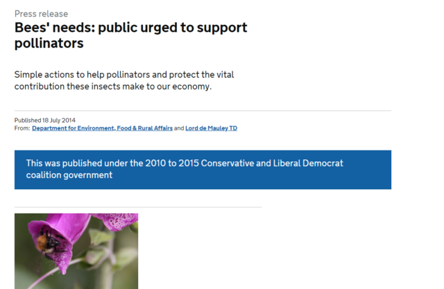 A screen shot from the top of the Government page on bees