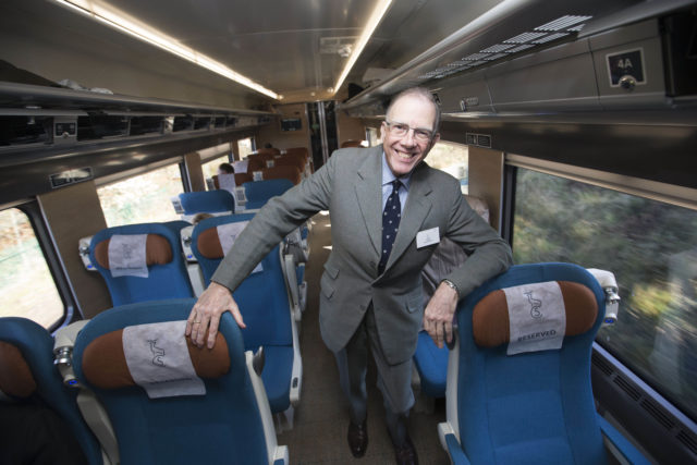Train historian David Meara on board the new Caledonian Sleeper