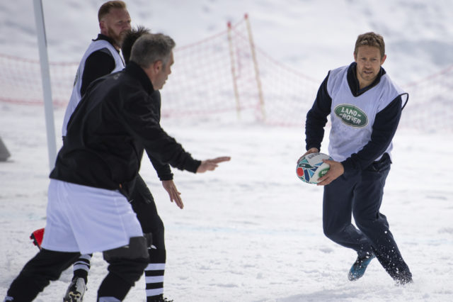 Former England fly-half Jonny Wilkinson playing snow rugby in La Plagne