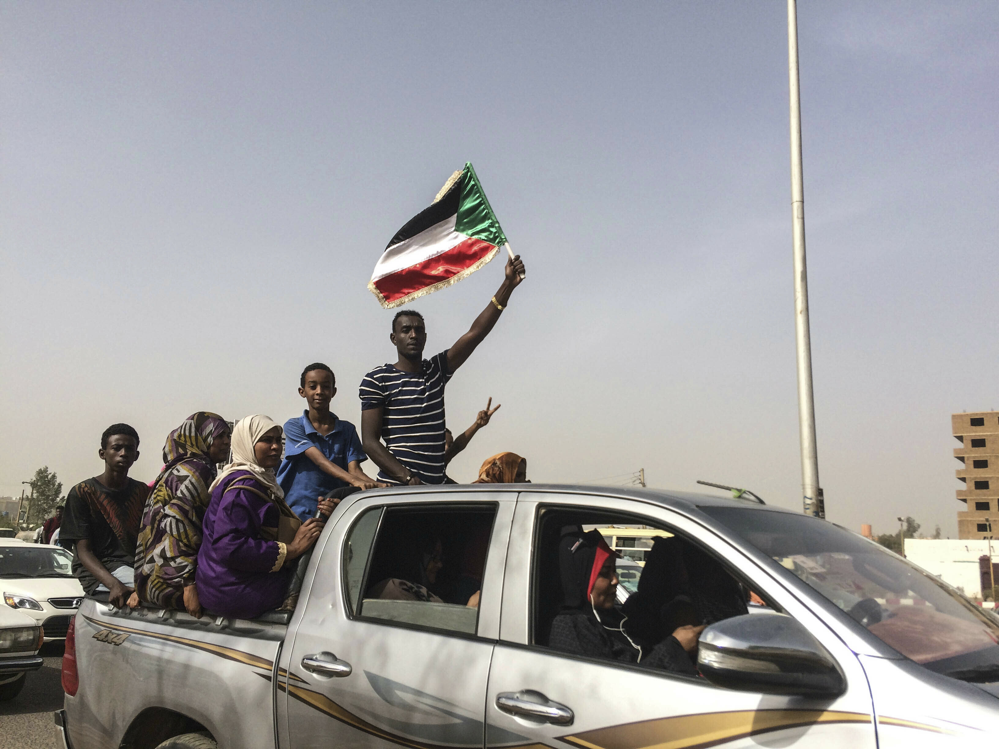 Protesters celebrate in Khartoum, Sudan