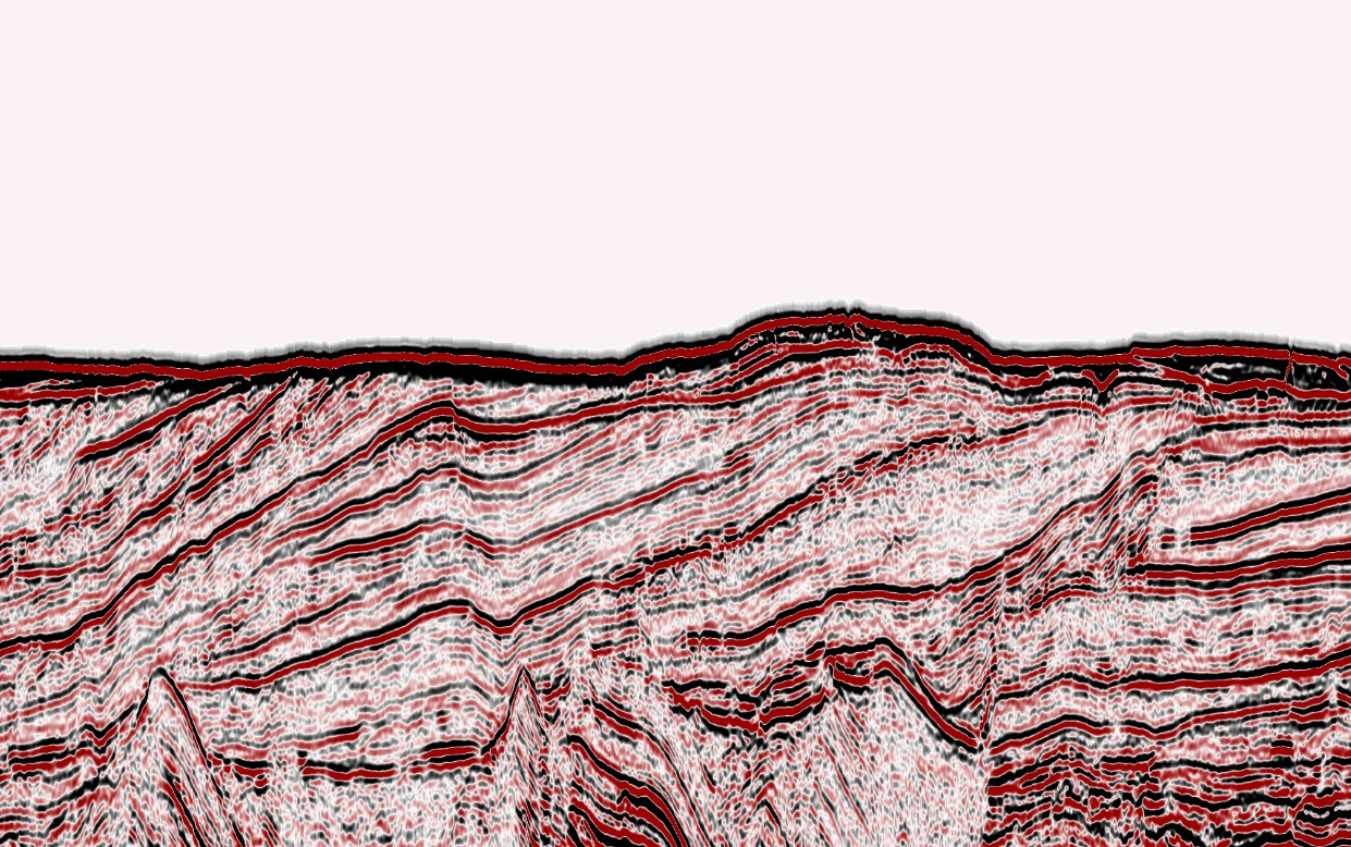 Cross-section of different layers beneath the seafloor off north-west Greenland
