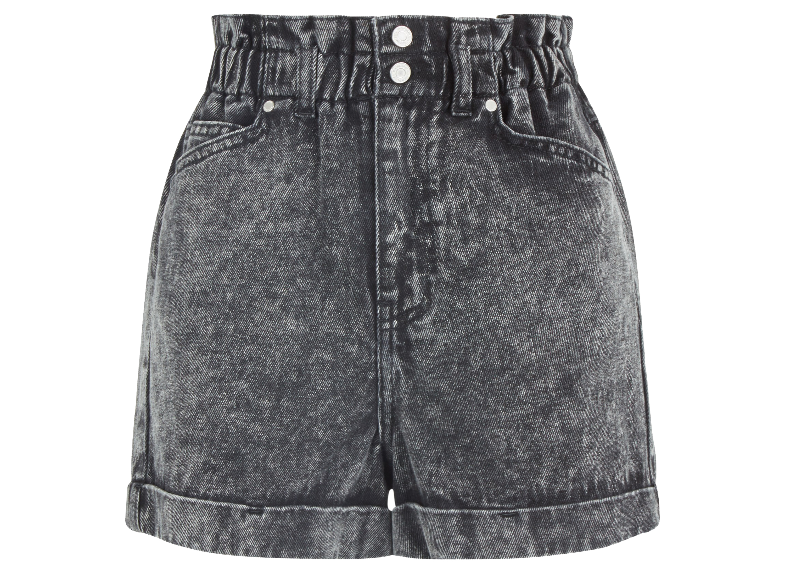 New Look Black Acid Wash Paperbag Denim Shorts