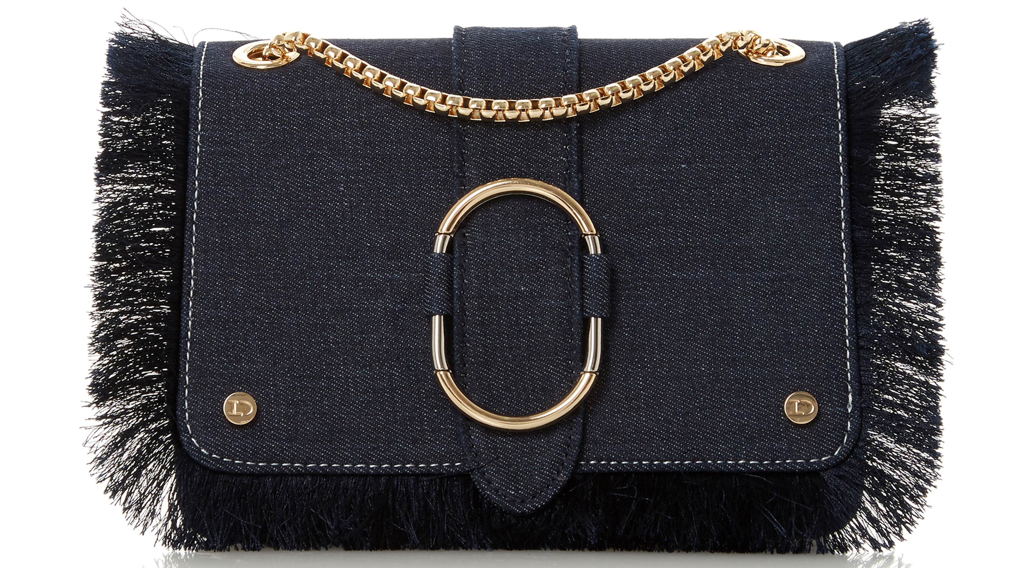 Dune Deloupe Denim Frayed Trim Bag