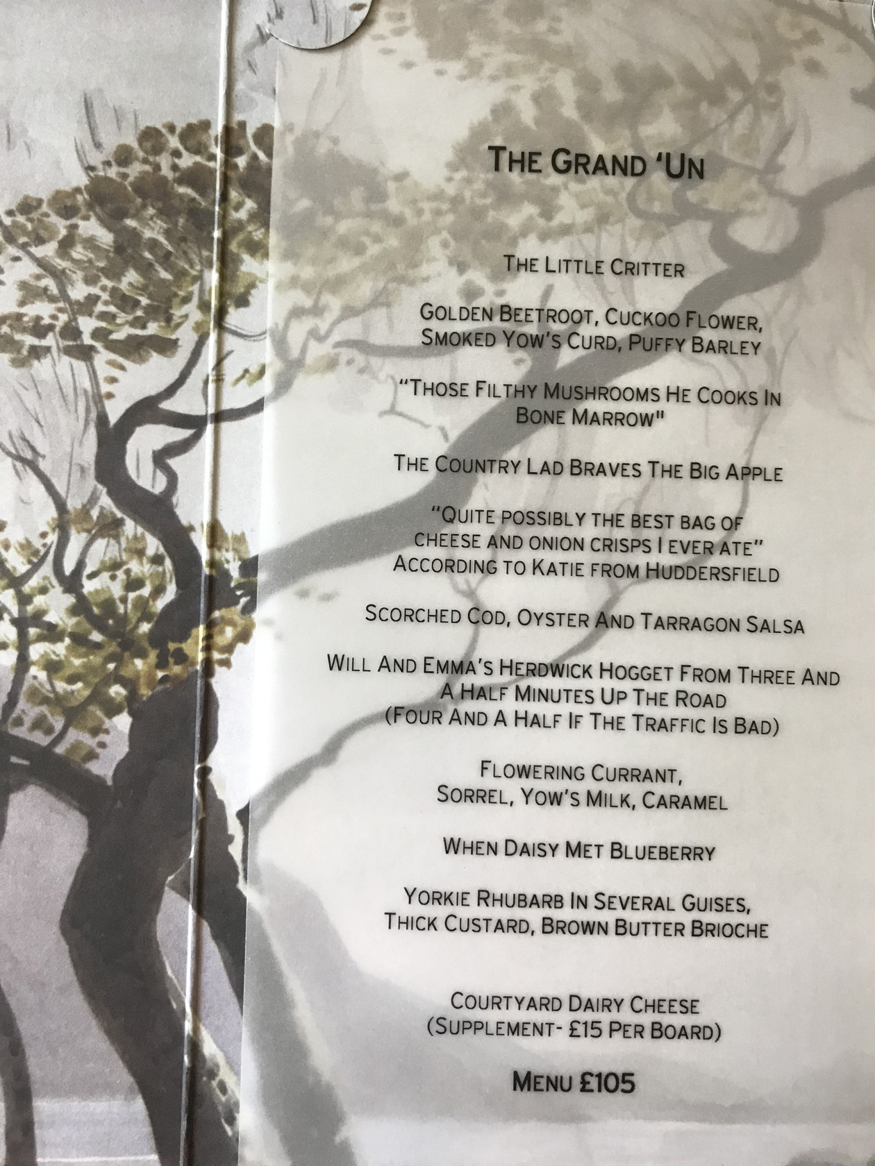 The Forest Side set 10-course menu - with chef Kevin Tickle's amusing dish names (Ella Walker/PA)