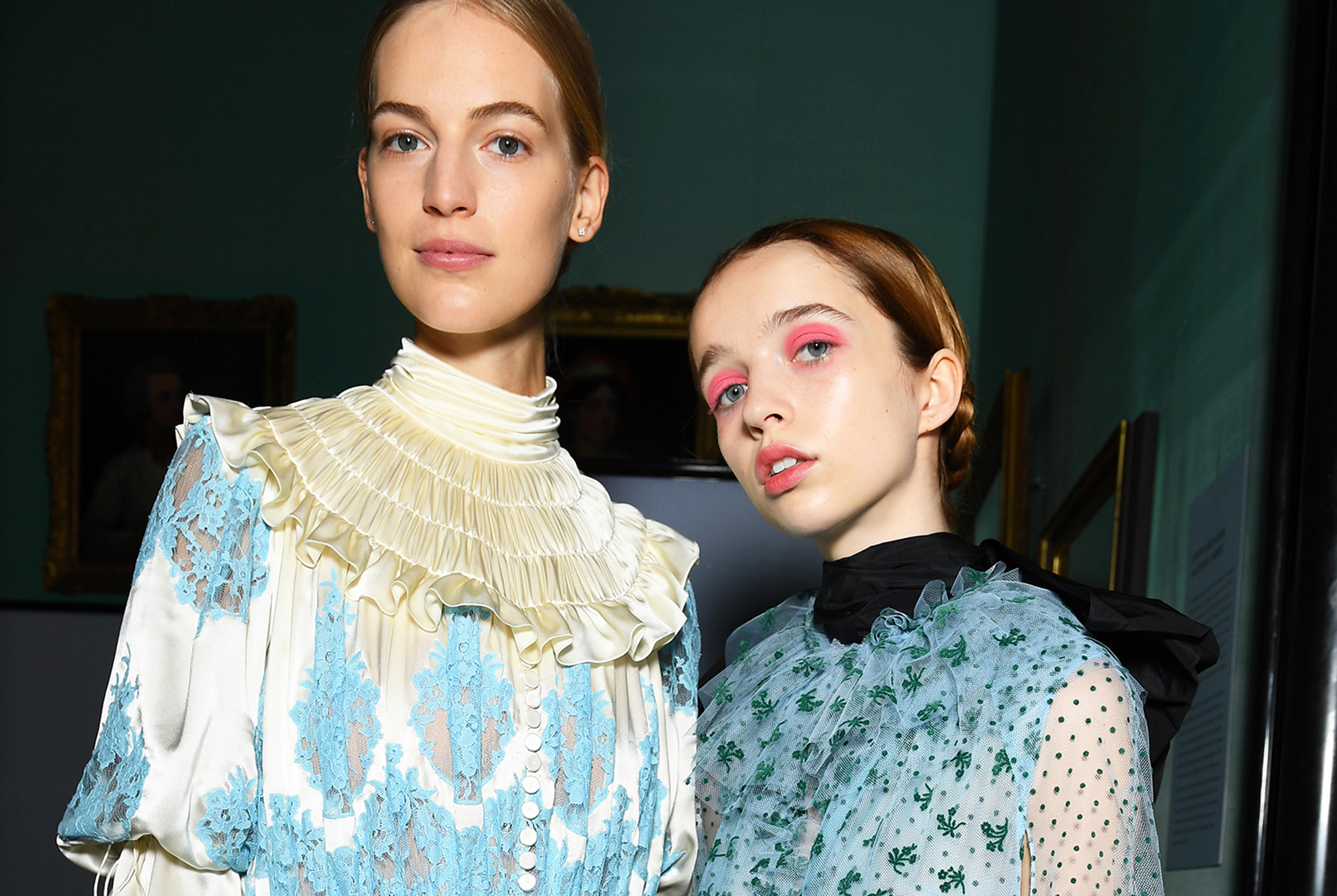 models backstage at Erdem SS19 wearing Nars make-up