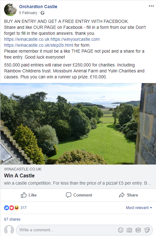 The Facebook ad for the raffle of Orchardton Castle. (ASA/PA)